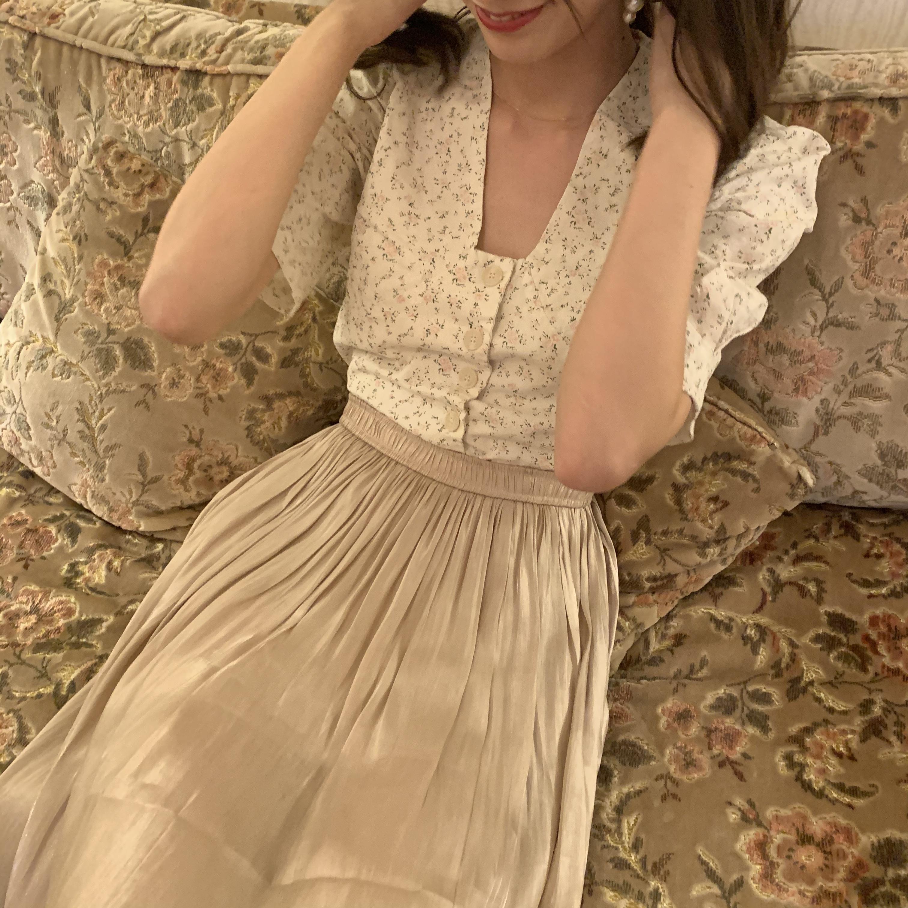 flower puff blouse