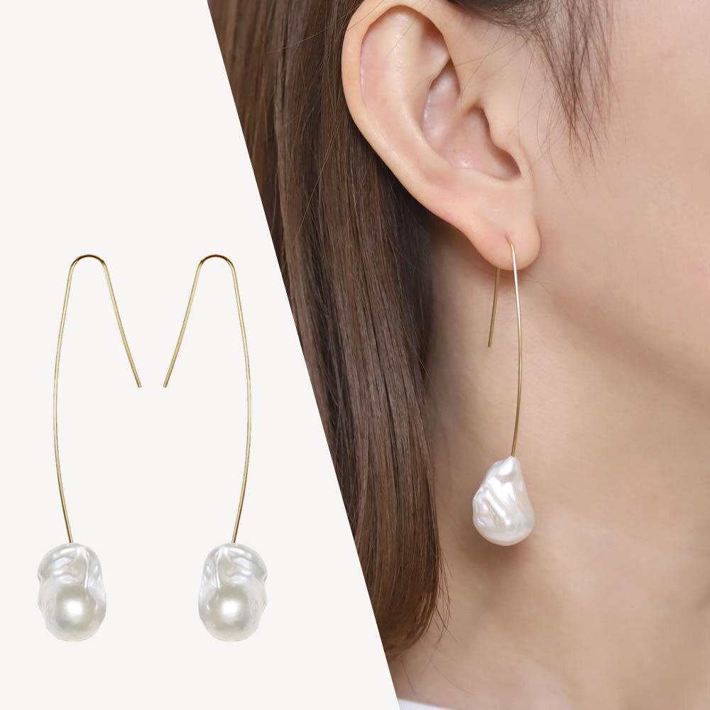 【Sクラス】baroque pearl long hook pierce