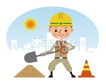 イラスト素材:シャベルを持って働く作業員/昼間背景(ベクター・JPG)