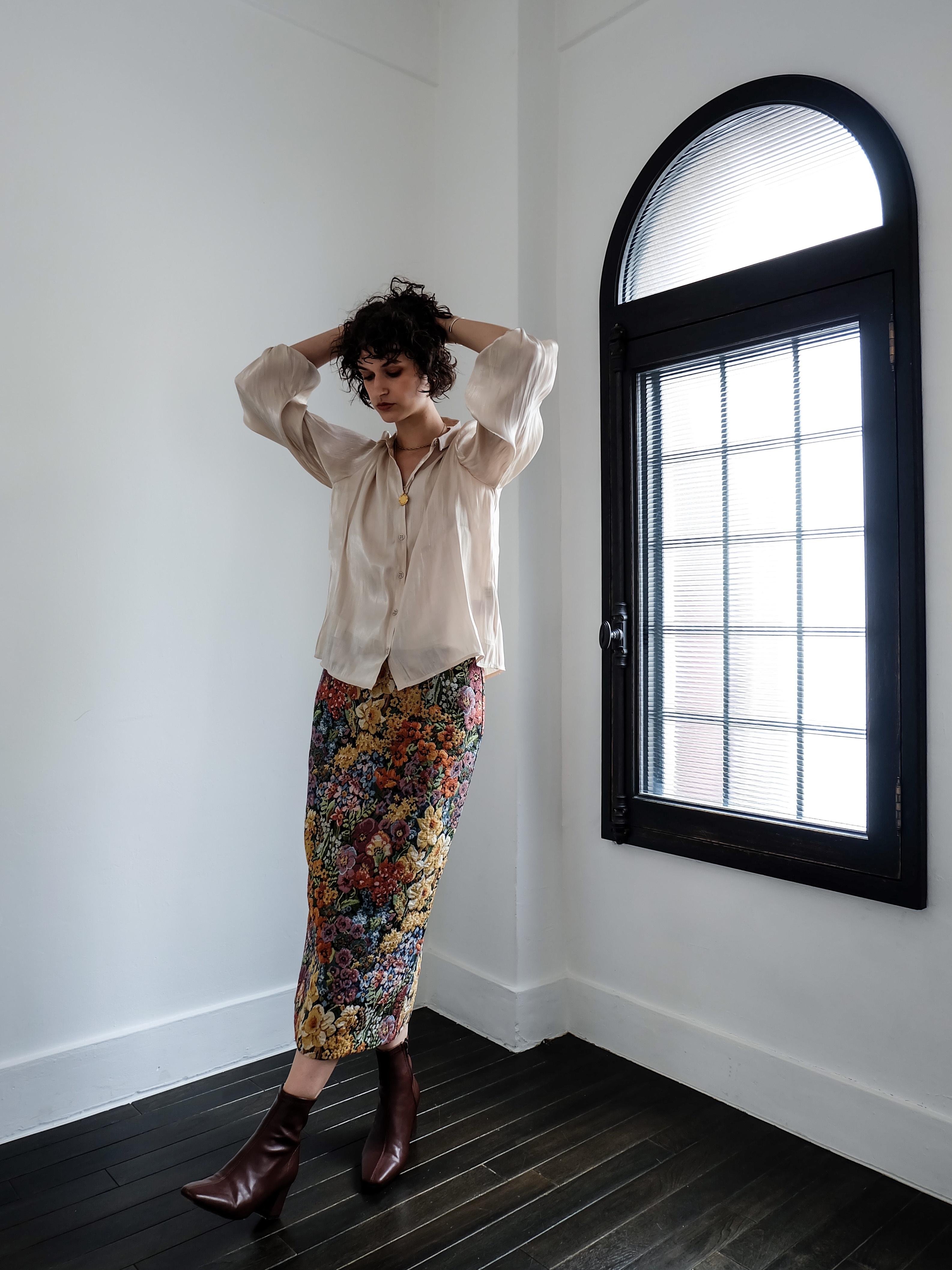flower jacquard skirt(multi)