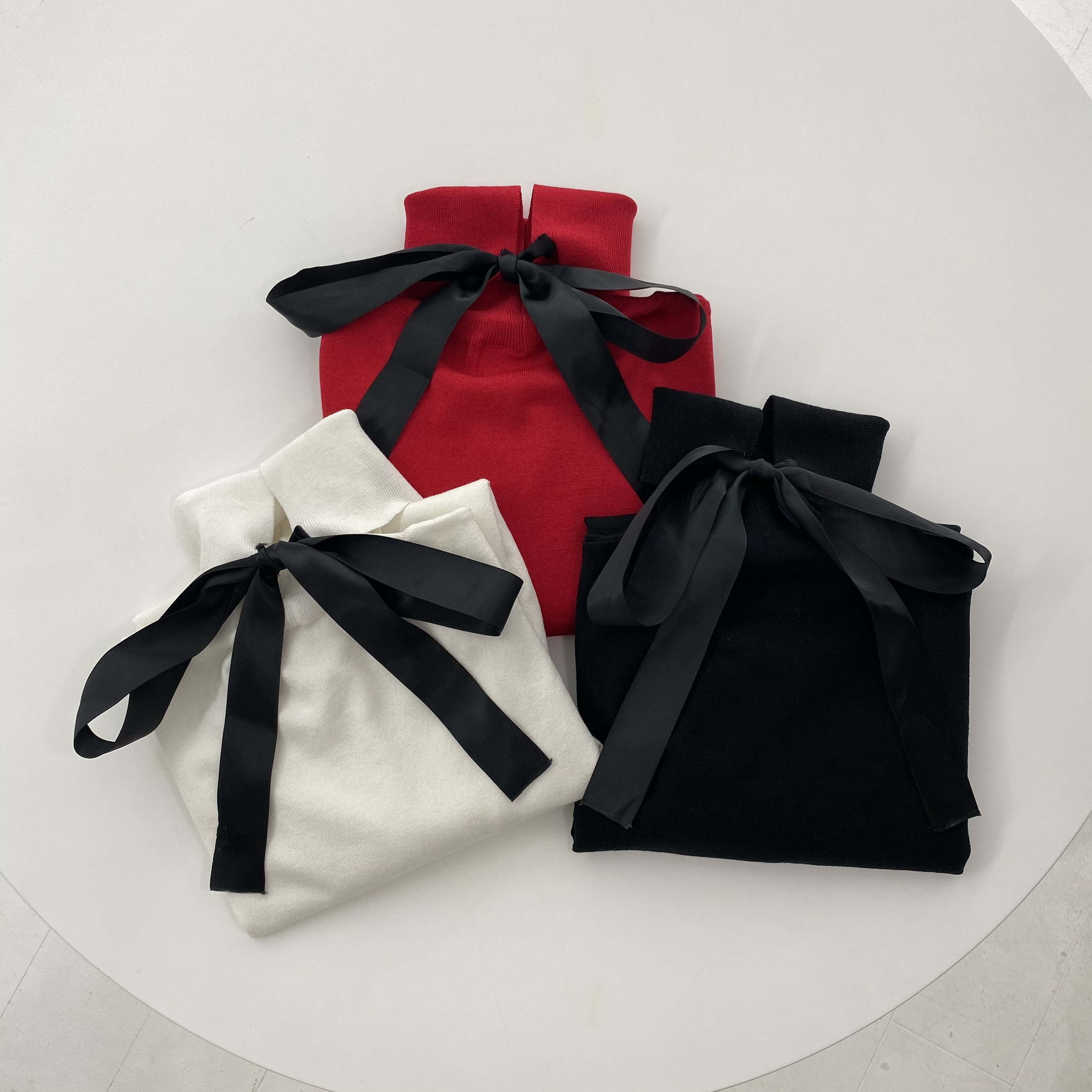 【Belle】puff back ribbon knit / red