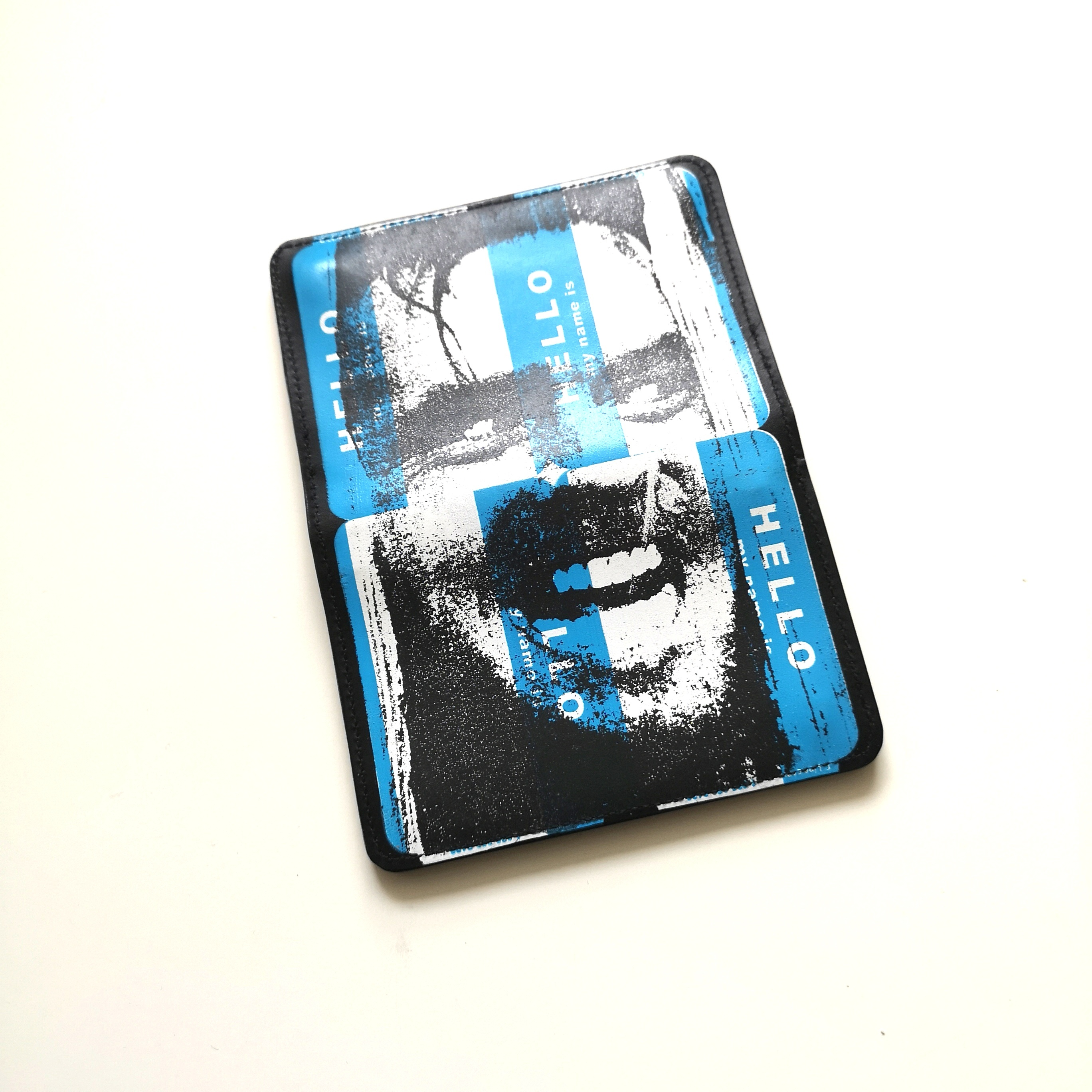       HELLO LEATHER WALLET BLU, RED