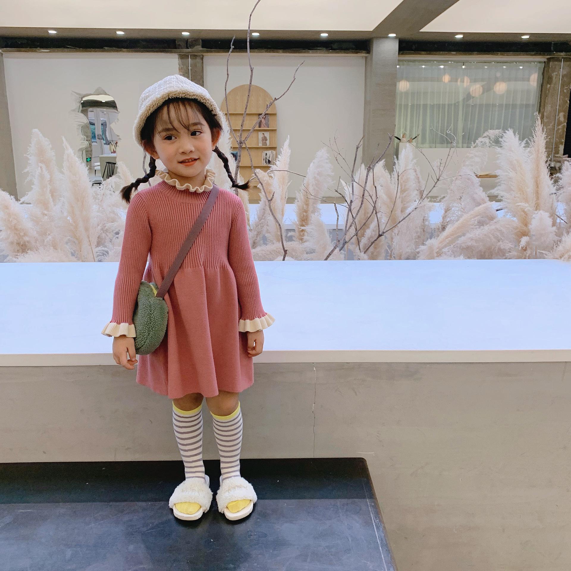 【即納】首元フリルニットワンピース