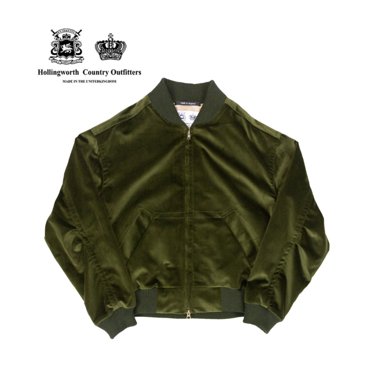 【Hollingworth Country Outfitters】 ベロア ボンバー ジャケット 〈Green〉