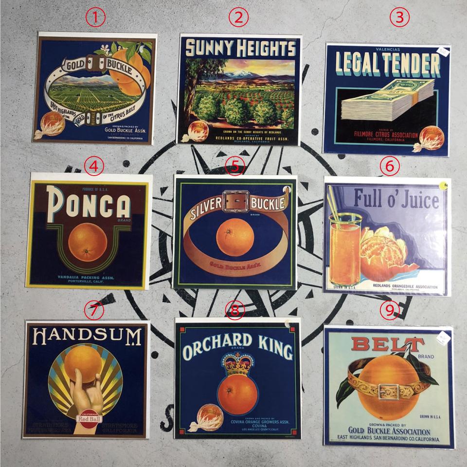 ヴィンテージ カリフォルニアフルーツ 木箱ラベル ポスター 1