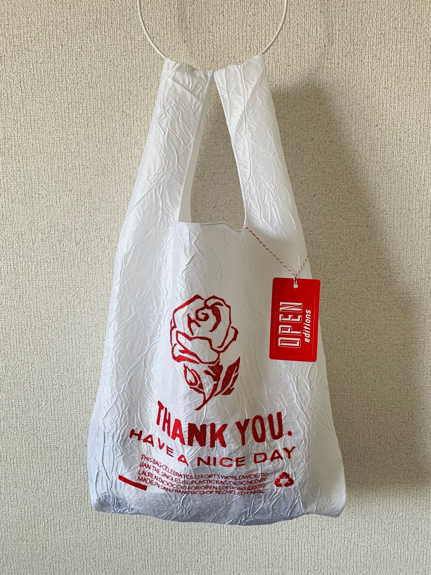 【OPEN EDITIONS / 送料無料】THANK YOU TOTE エコバッグ/ ROSE White