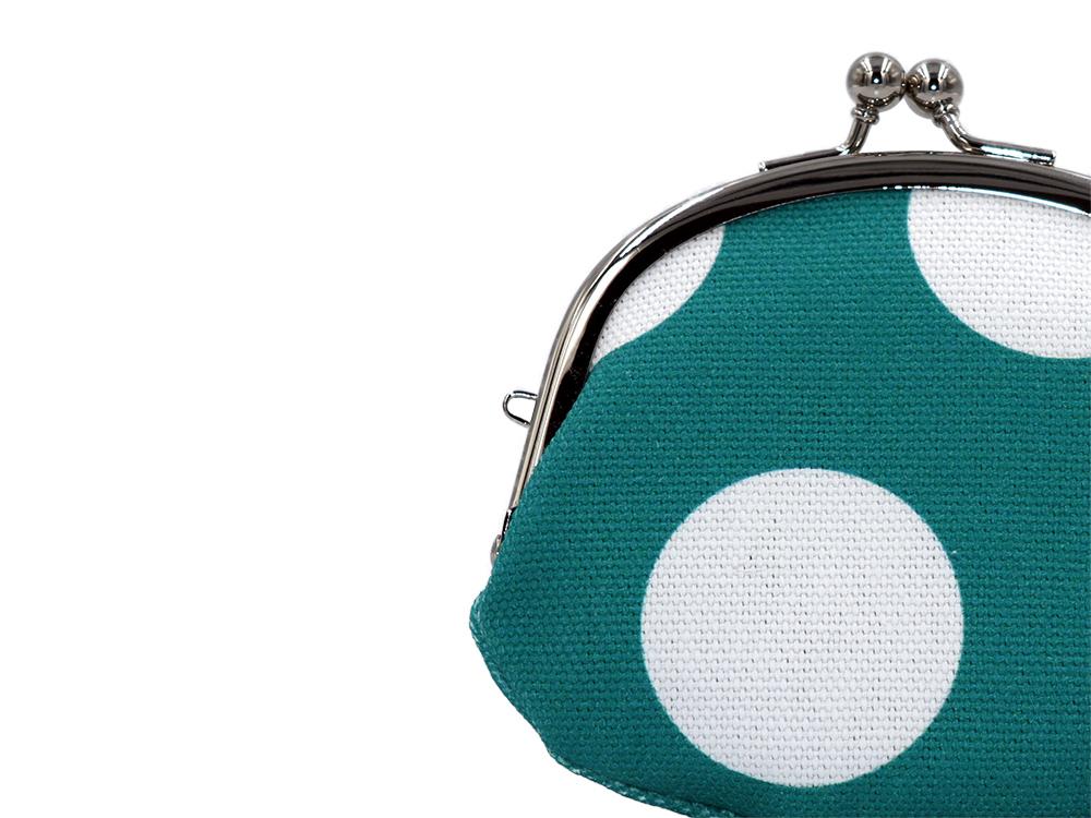 帆布×インクジェットプリント・3.3寸小銭入れ・水玉・日本製