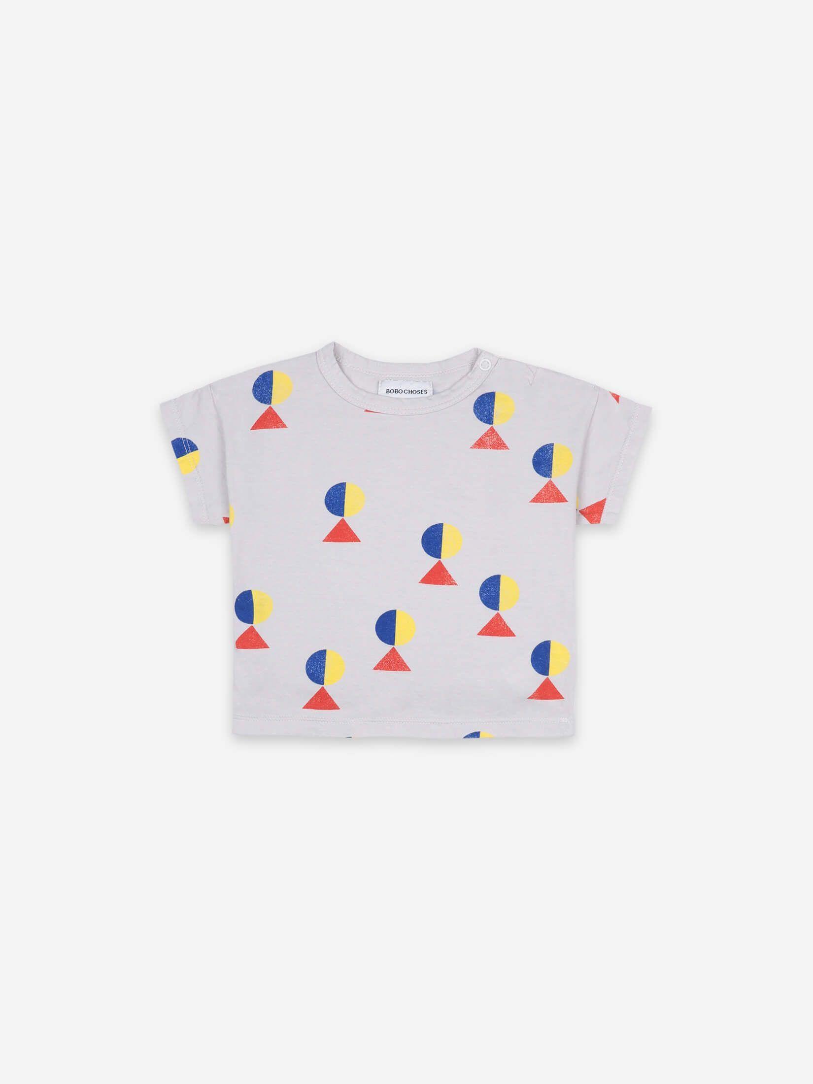 BOBO CHOSES ボボショセス Geometric All Over Short Sleeve T-shirt(左肩スナップ付) size:12-18M(80-90)~24-36M(90-100)