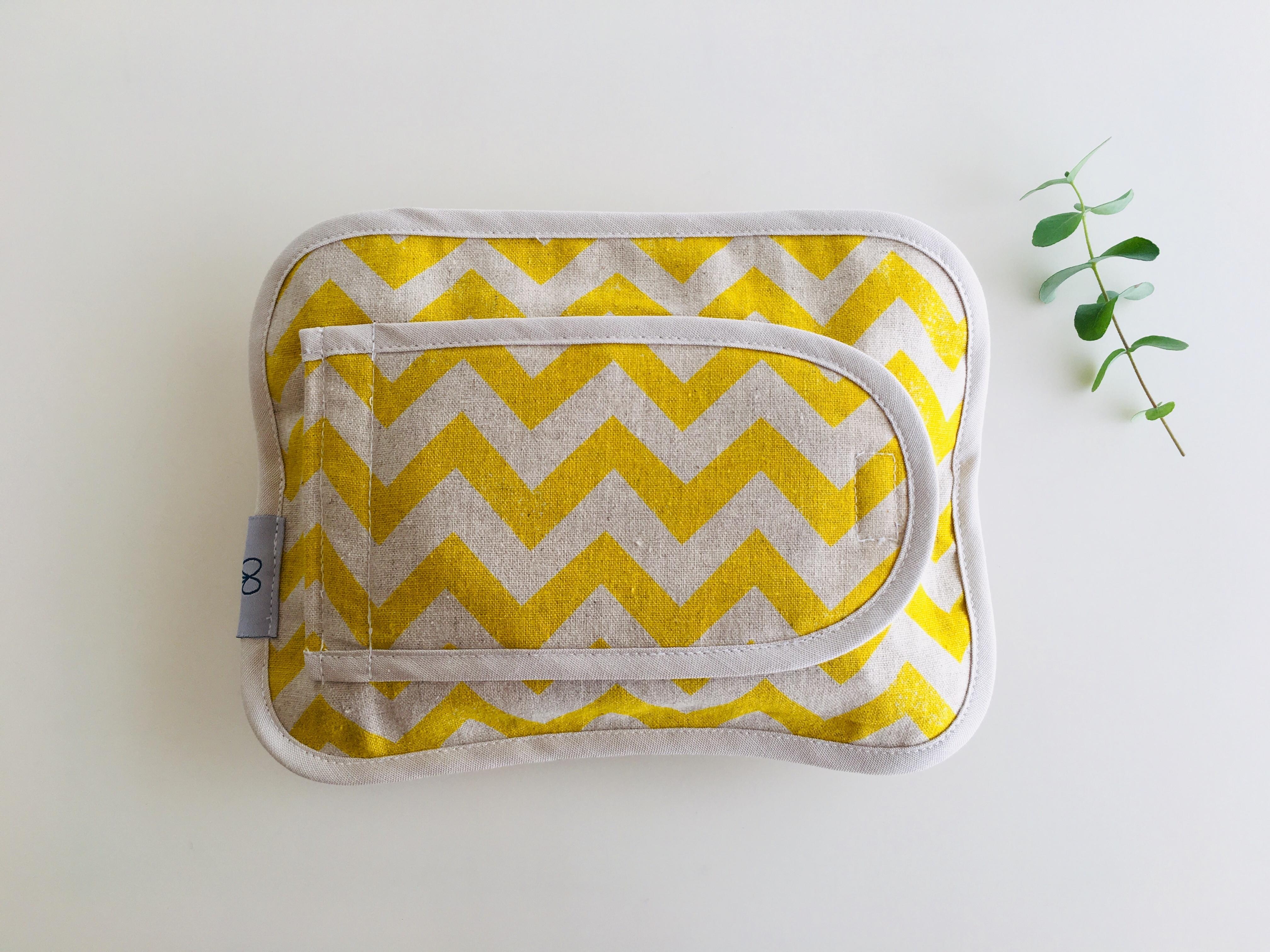 布製おしりふきケース麻・黄色のギザギザ