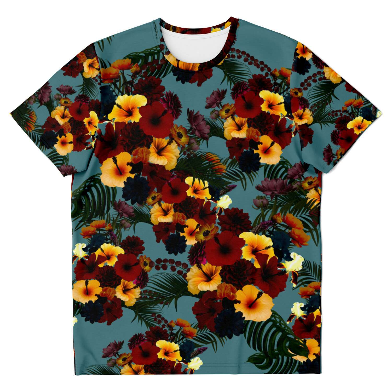 ハイビスカスブルー ユニセックスTシャツ