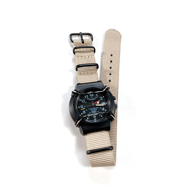 USED / CASIO PROTECT WATCH / BLACK / NATO-type Beige Strap