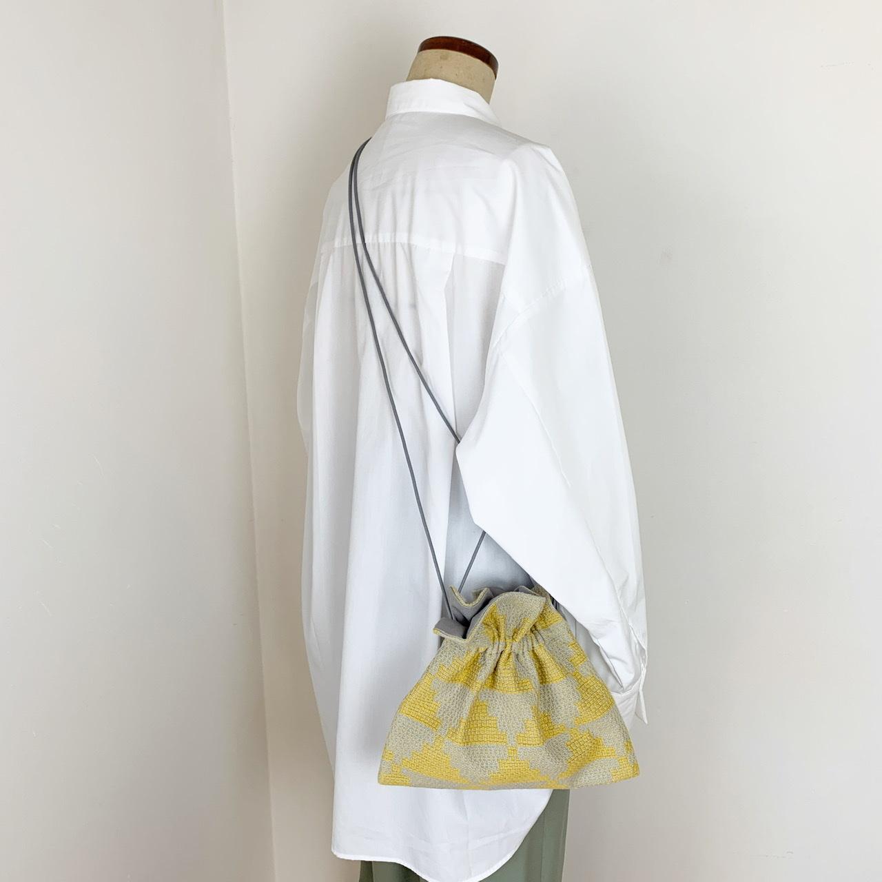 巾着ショルダーバッグ(グレー×黄色)