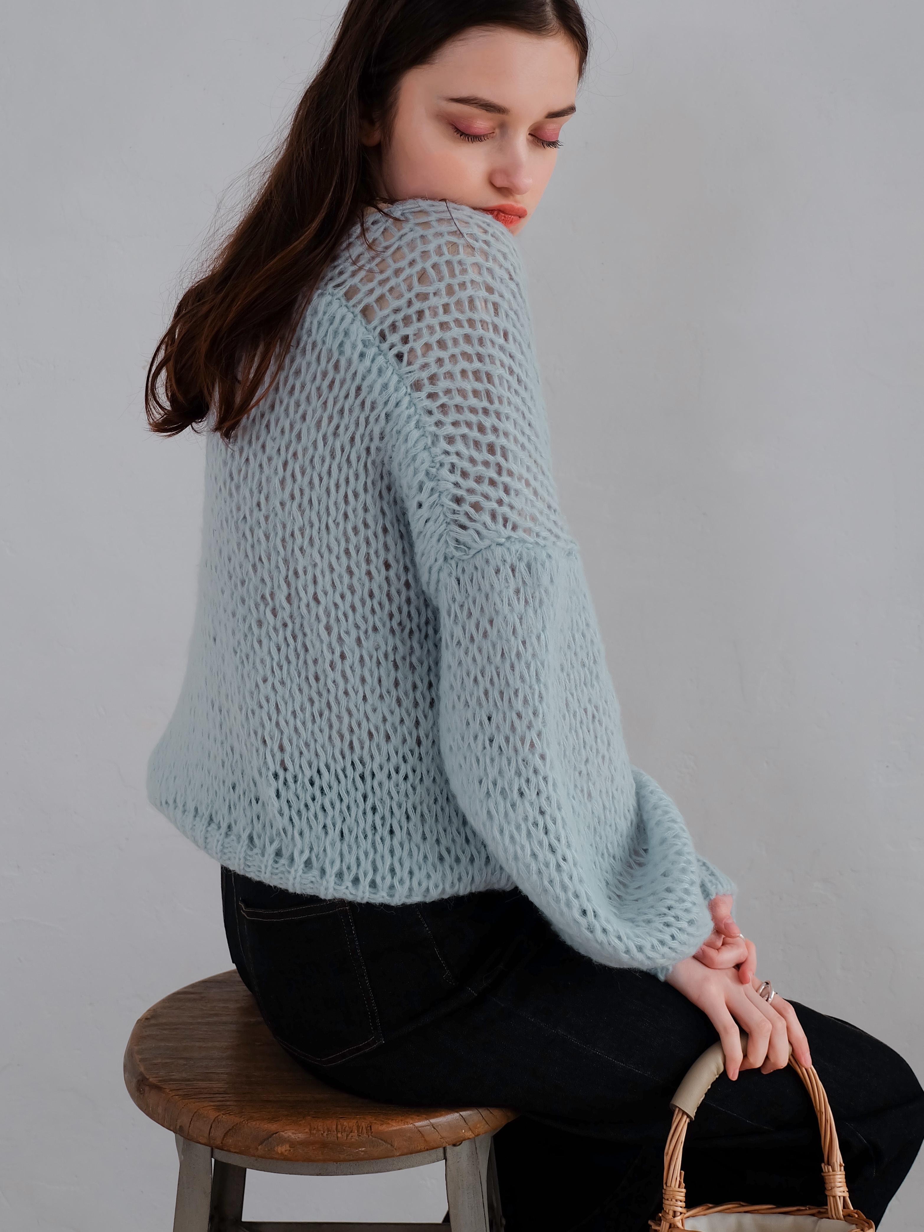 mohair low-gauge knit(blue)