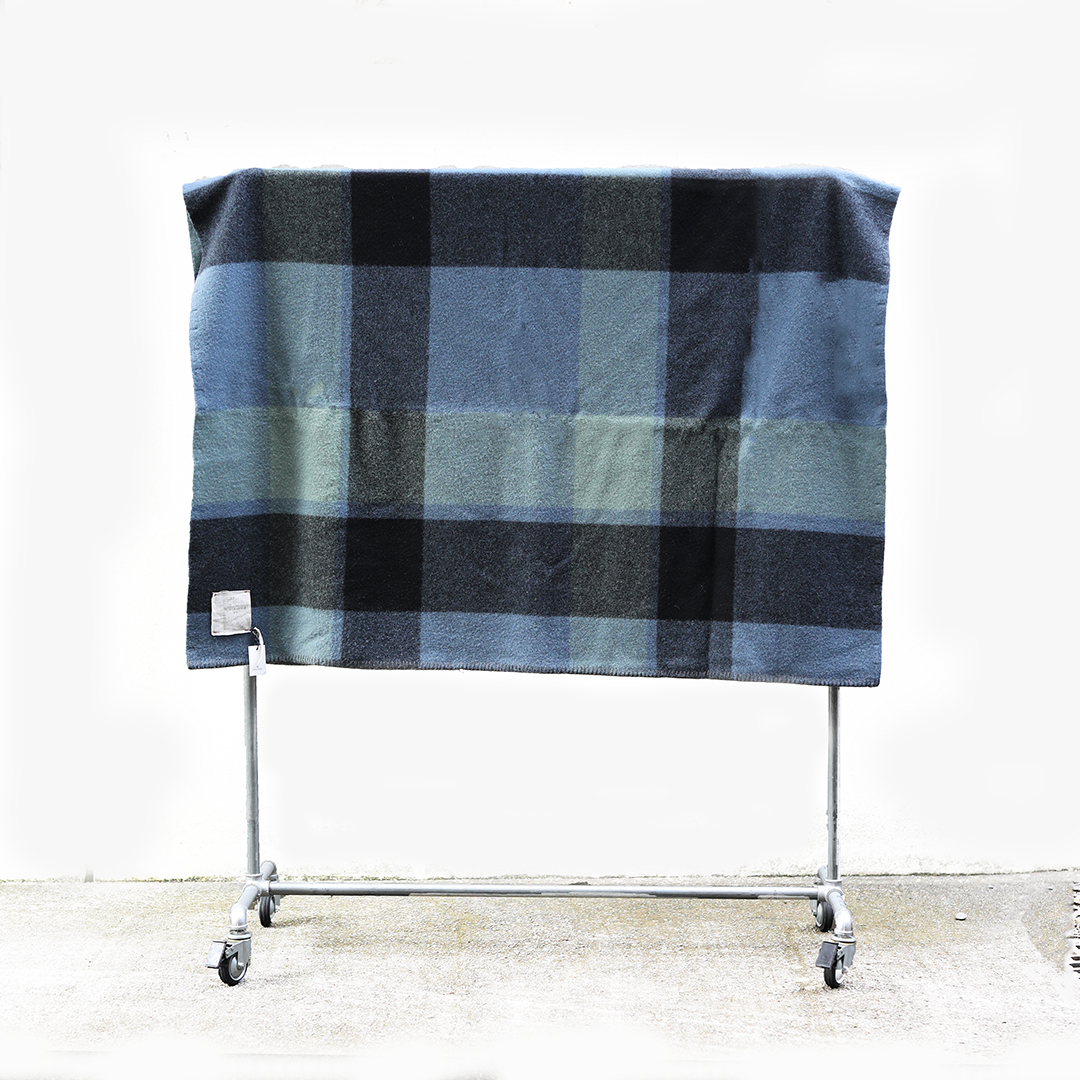 loomer (ルーマー) Shetland Wool Check Blanket Big【BLUE】(ブランケット)