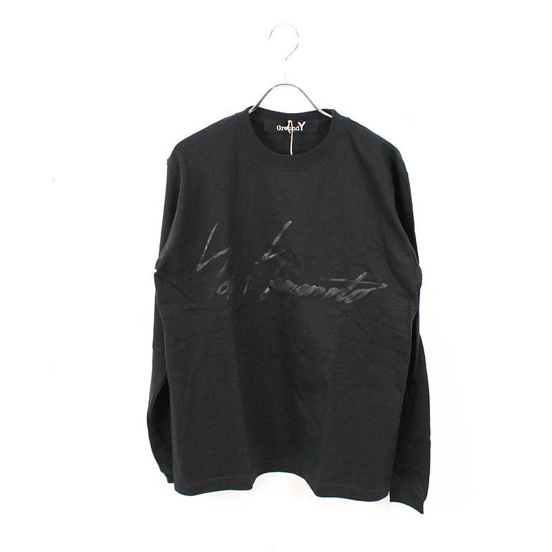 【新品】Ground Y / グラウンドワイ   2021SS   Ground Y かすれYYロゴ長袖 Tシャツ カットソー   1   ブラック   メンズ