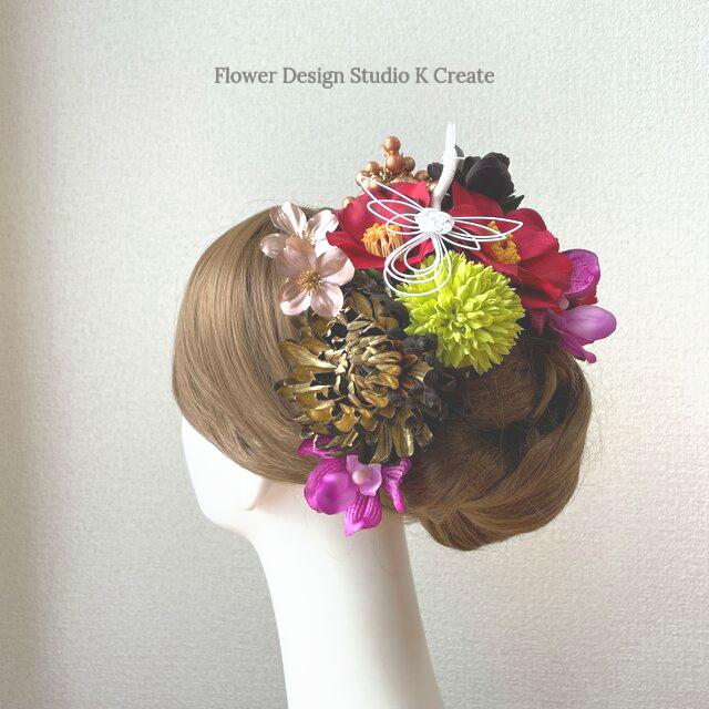 和装婚・成人式に♡ゴールドの菊と椿とマムのヘッドドレス 結婚式 成人式 着物髪飾り 和装ヘッドドレス 前撮り 赤 和装婚