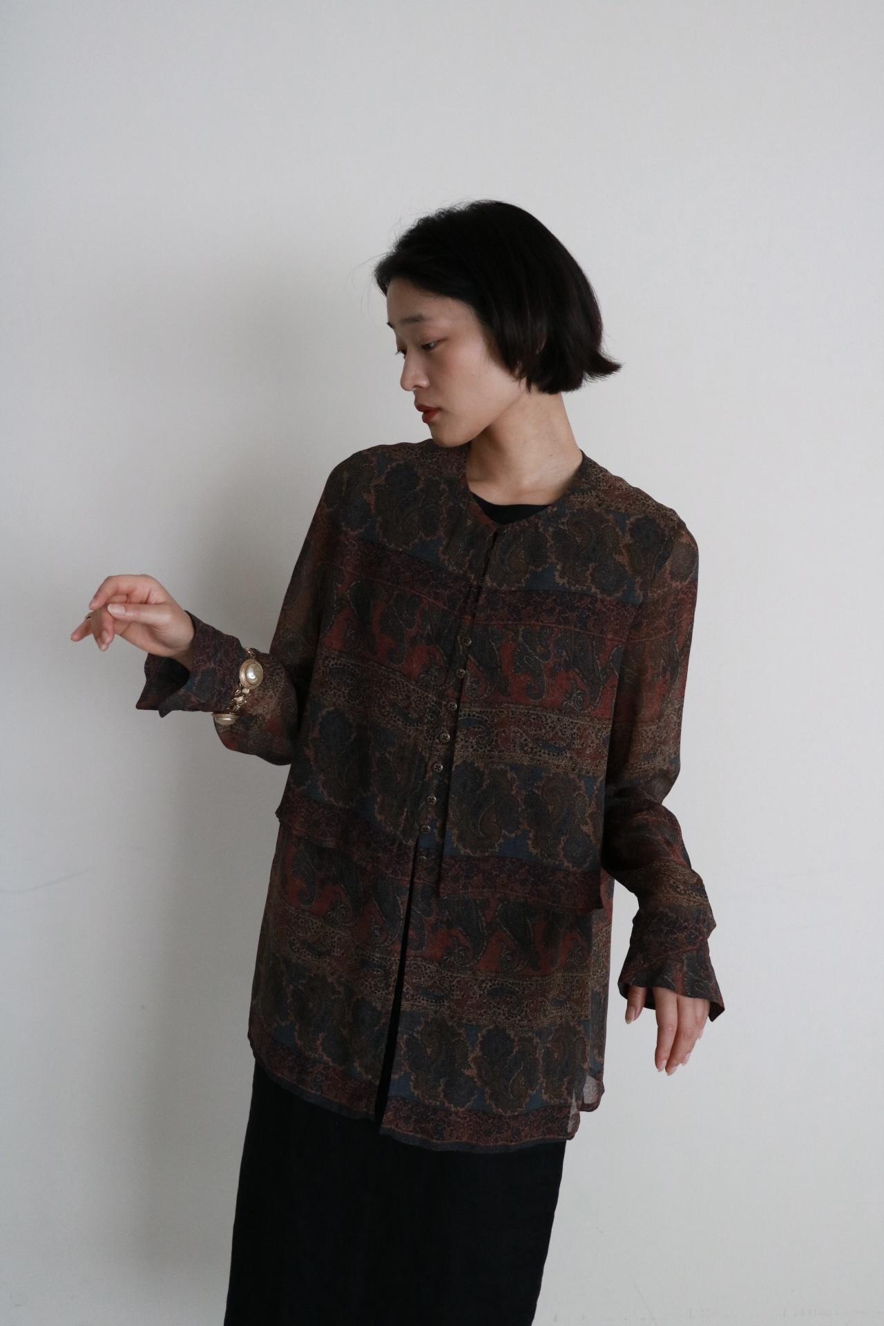 Vintage silk layered design shirt