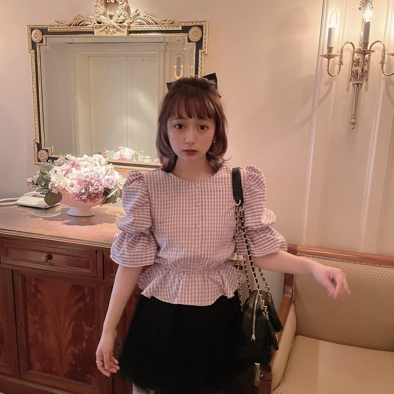 【meltie】violet gingham blouse