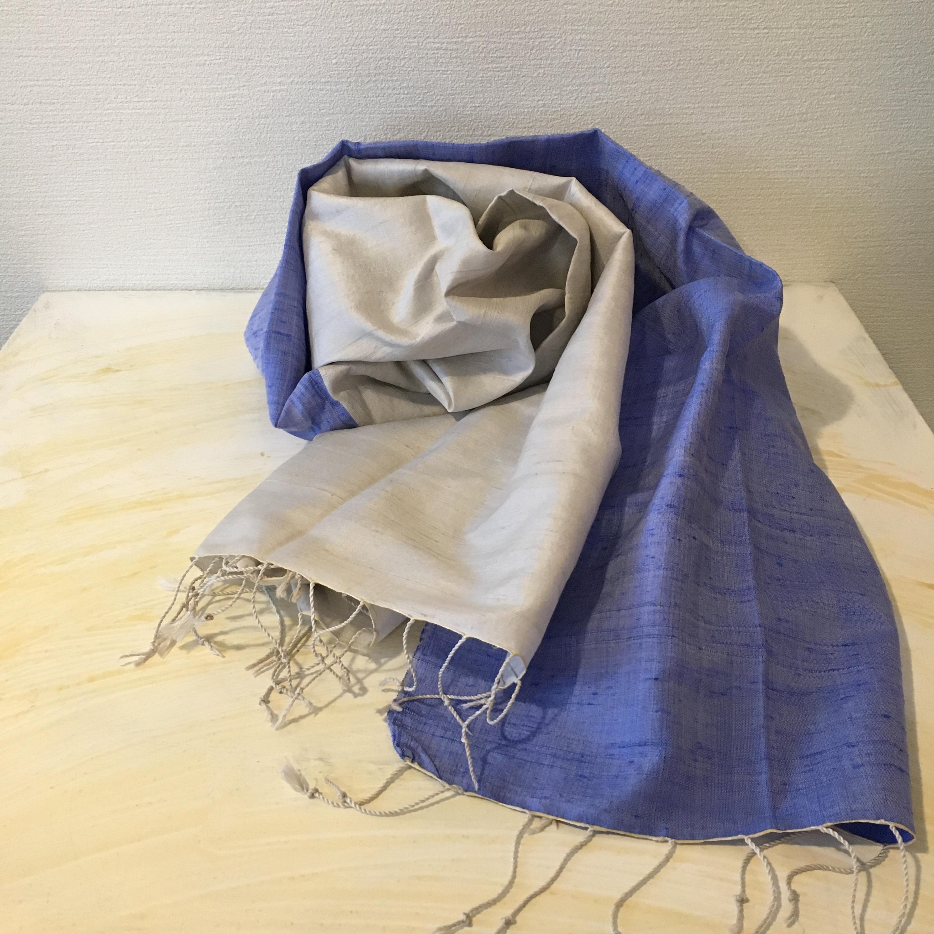 青×白 カンボジアシルクショール