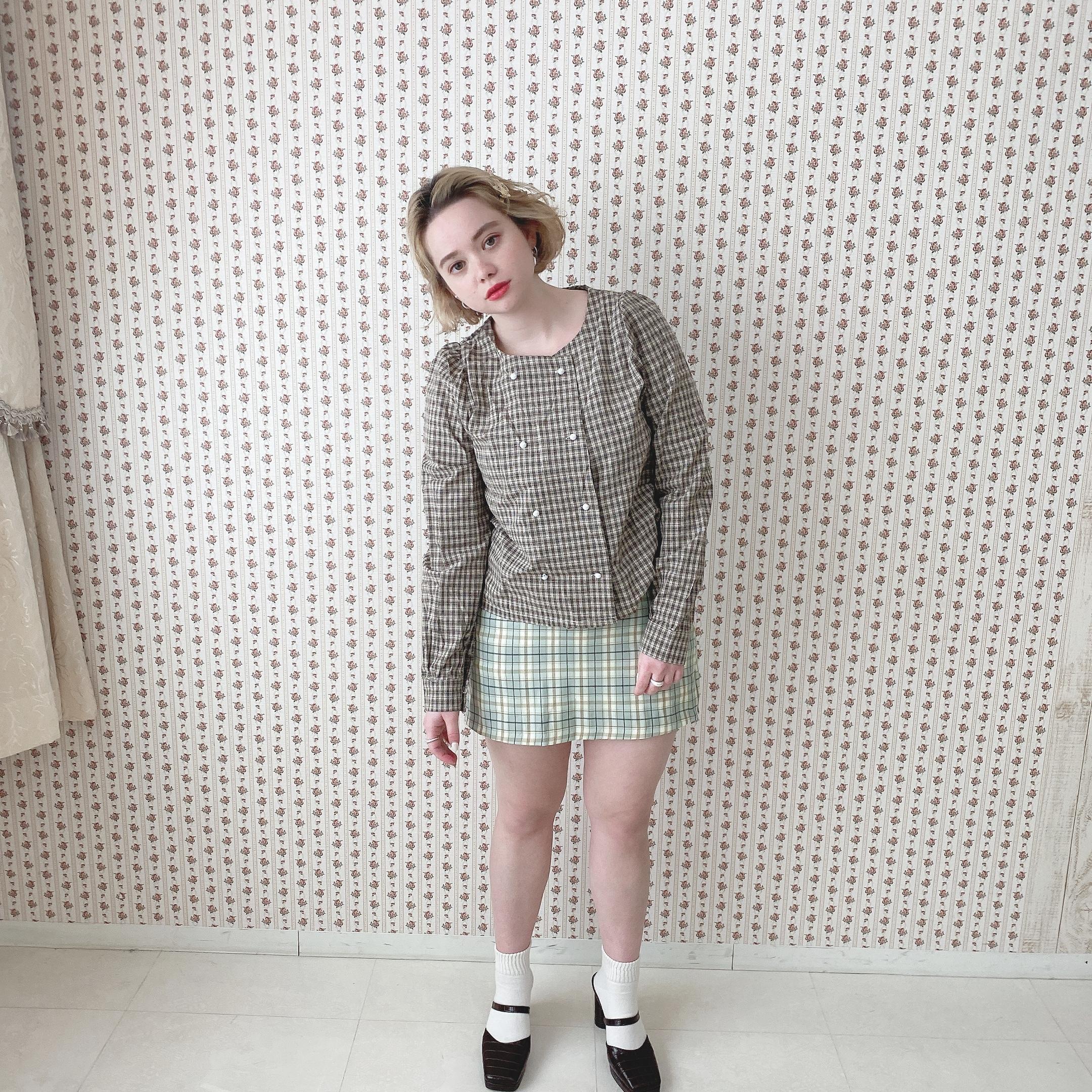 double button check blouse