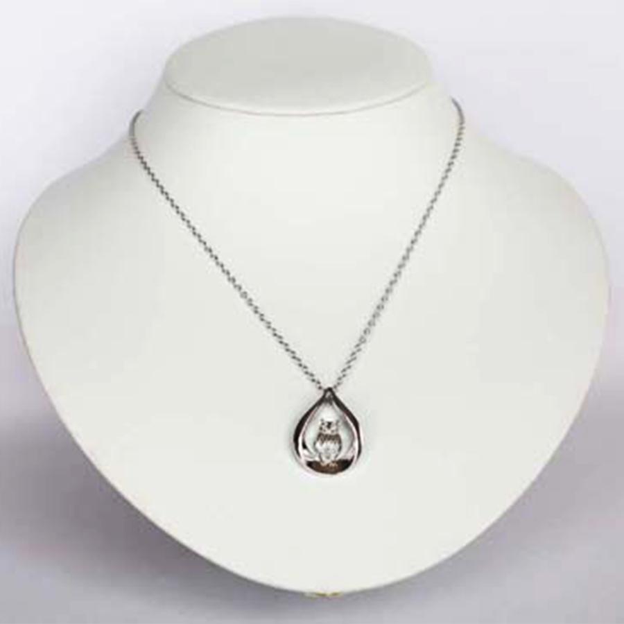 【不苦労で願いが叶う】シルバー925 ダイヤモンド&ゲルマニウム ふくろうペンダント