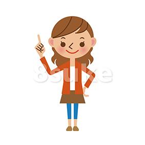 イラスト素材:指差しをする若い女性(ベクター・JPG)