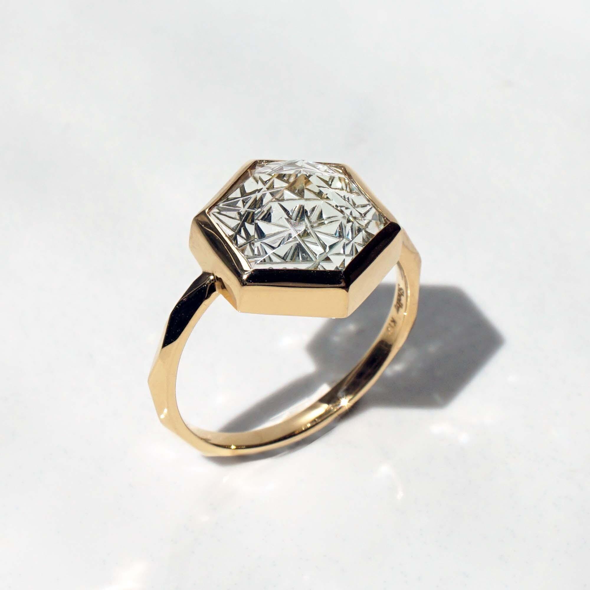 Green Quartz KIRIKO Ring (Hexagon 10 / R165-GQ)