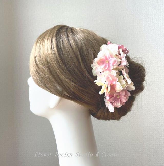ウェディングに♡クリームピンクの紫陽花のヘッドドレス(7本セット) アジサイ あじさい 髪飾り ジューンブライド 花嫁ヘア