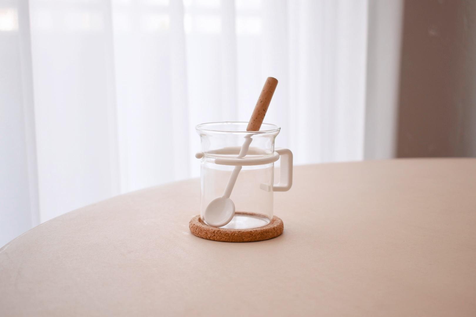 Bodum coffee glass with muddler spoon&cork coaster
