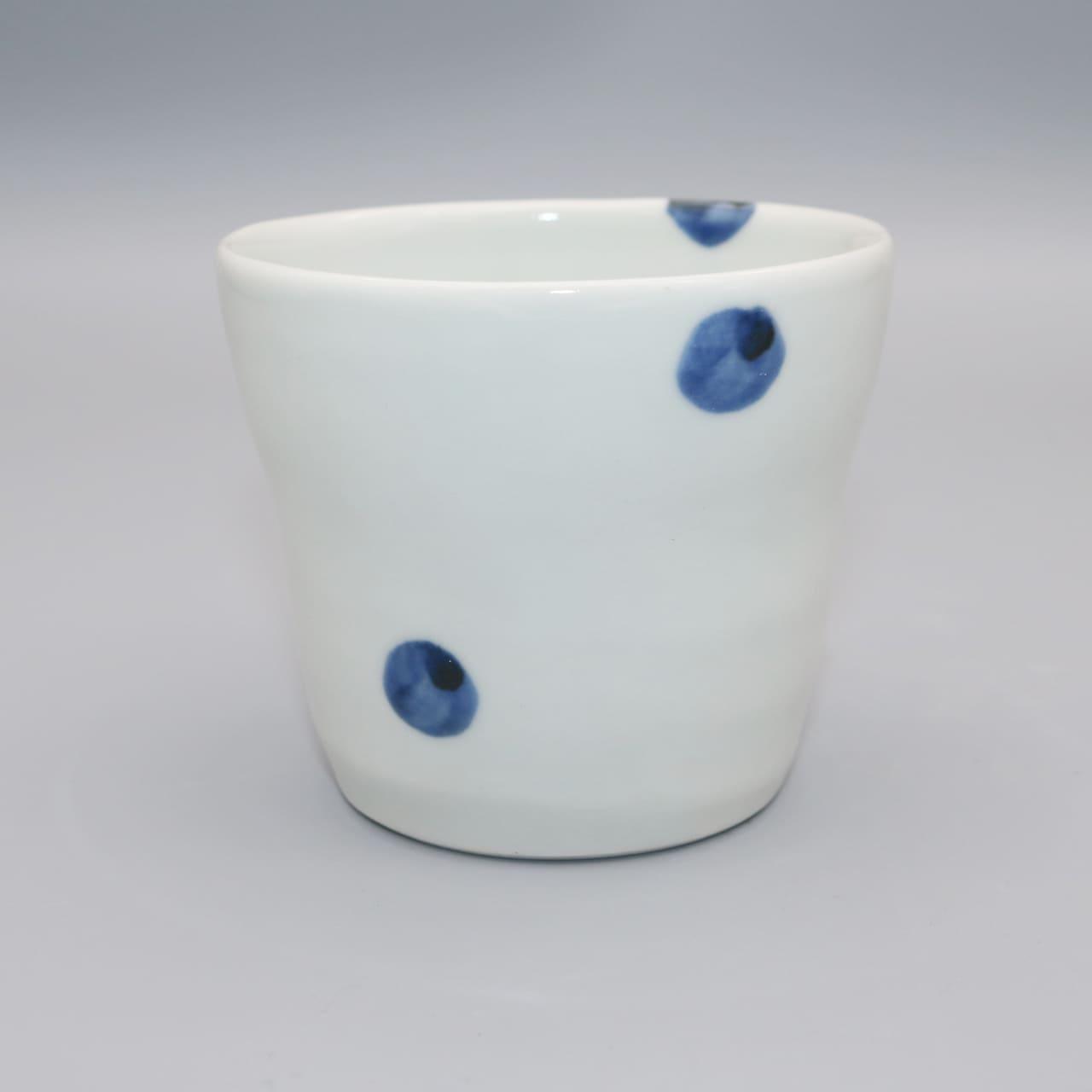砥部焼 梅乃瀬窯 フリ−カップ 点紋・線紋・ドット