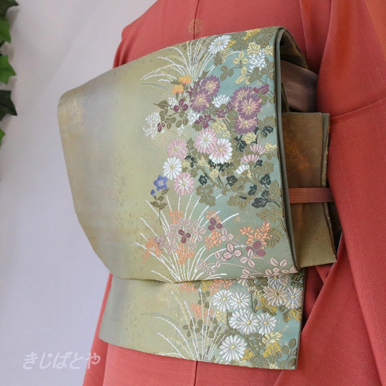 正絹 江戸鼠に季節の花々の袋帯