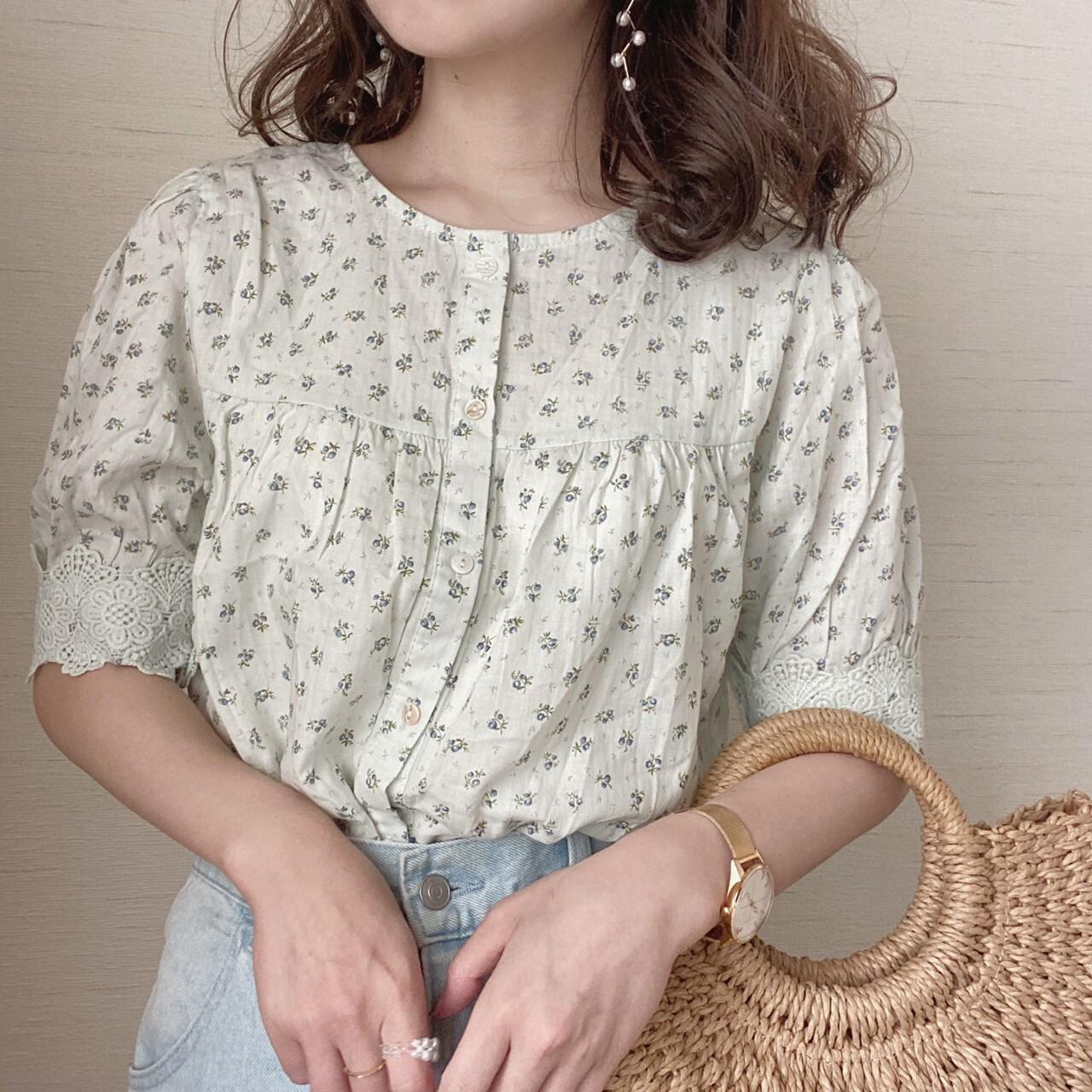 flower design blouse[5/19n-27]