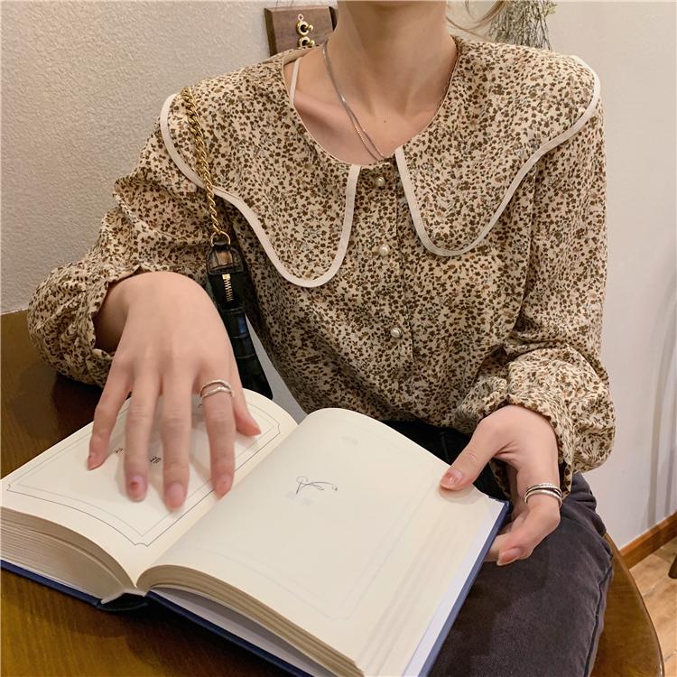 〈カフェシリーズ〉春のフレンチレトロシャツ【spring French retro shirt】