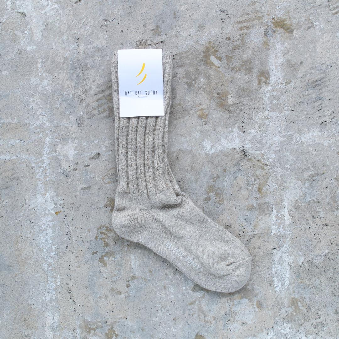NISHIGUCHI KUTSUSHITA 西口靴下 natural sunny リネンラミーケーブルソックス