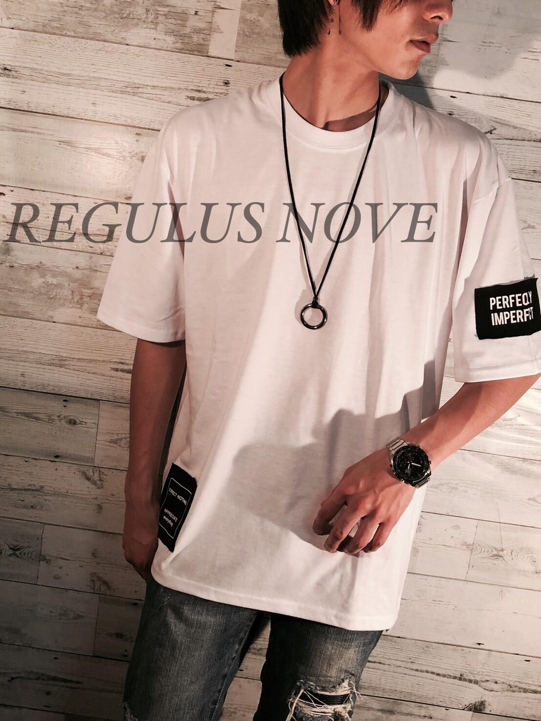 REGULUS NOVE デザインパッチBIGTシャツ WHITE ユニセックス レディース メンズ オーバーサイズ 大きいサイズ 派手 個性的 ストリート ロック