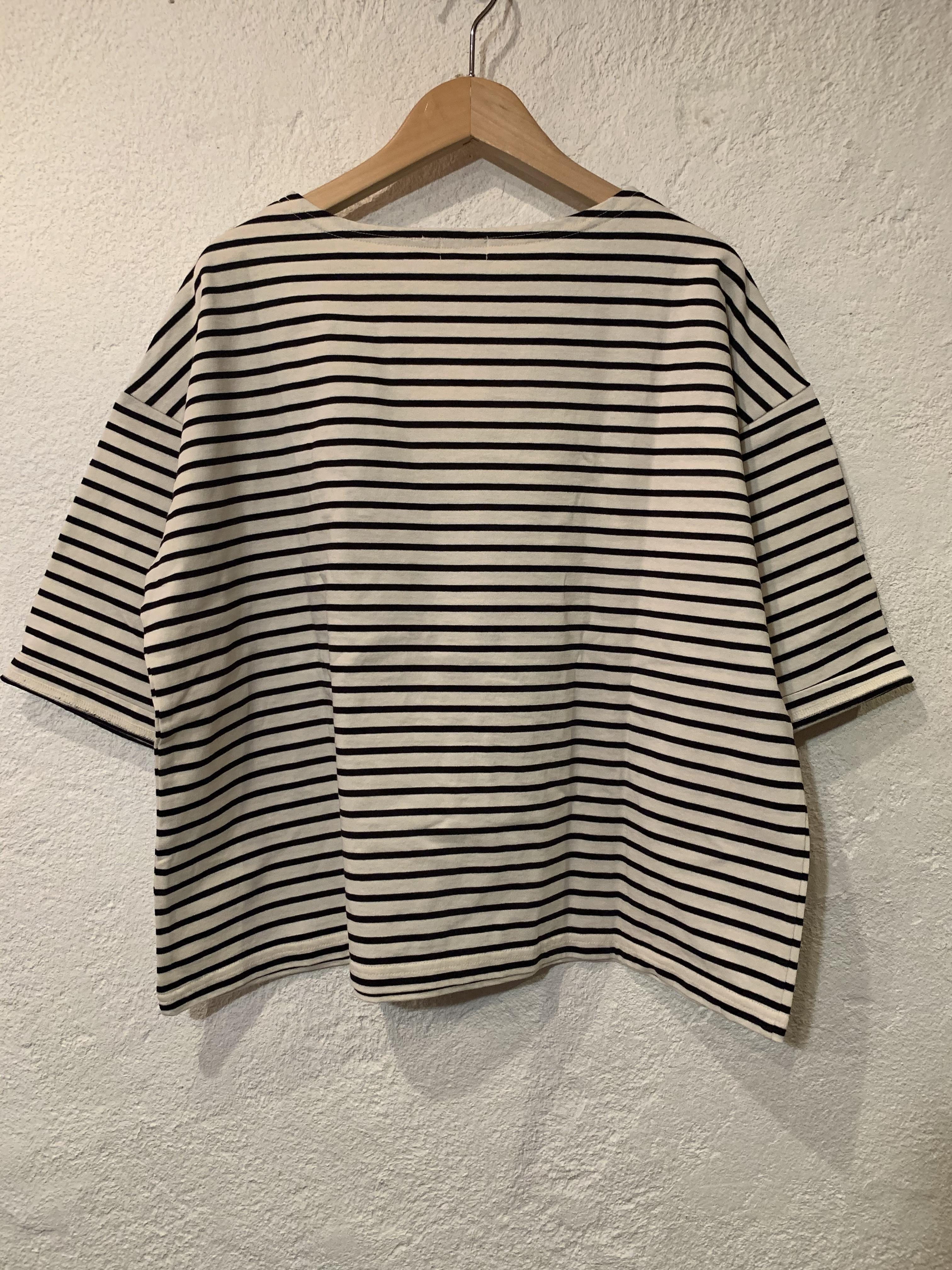 days/ボートネック6分袖ボーダーTシャツ  キナリxブラック
