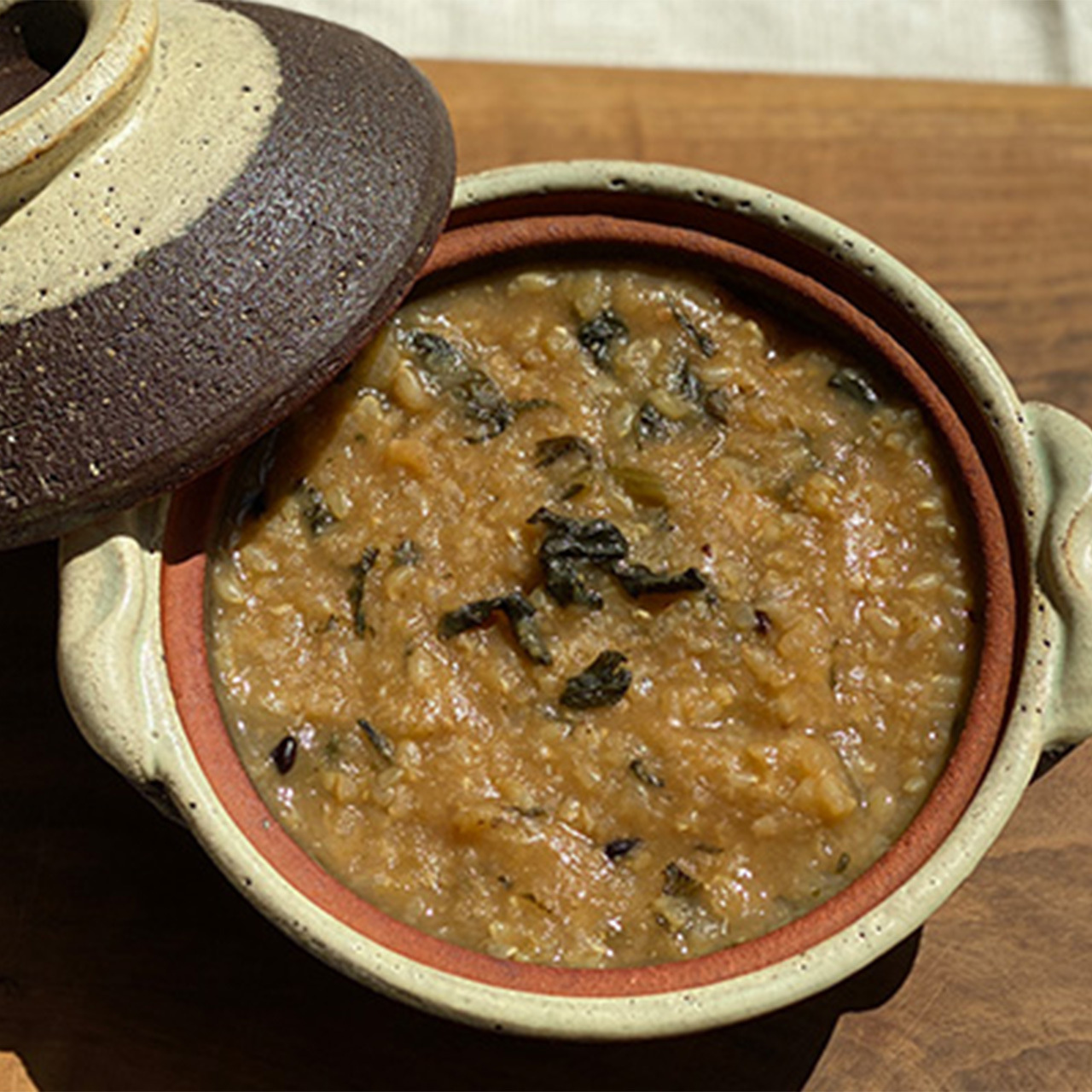 尼僧のテンジャン味噌と玄米のお粥 【瞑想する味噌。有機若大根の若葉】270g