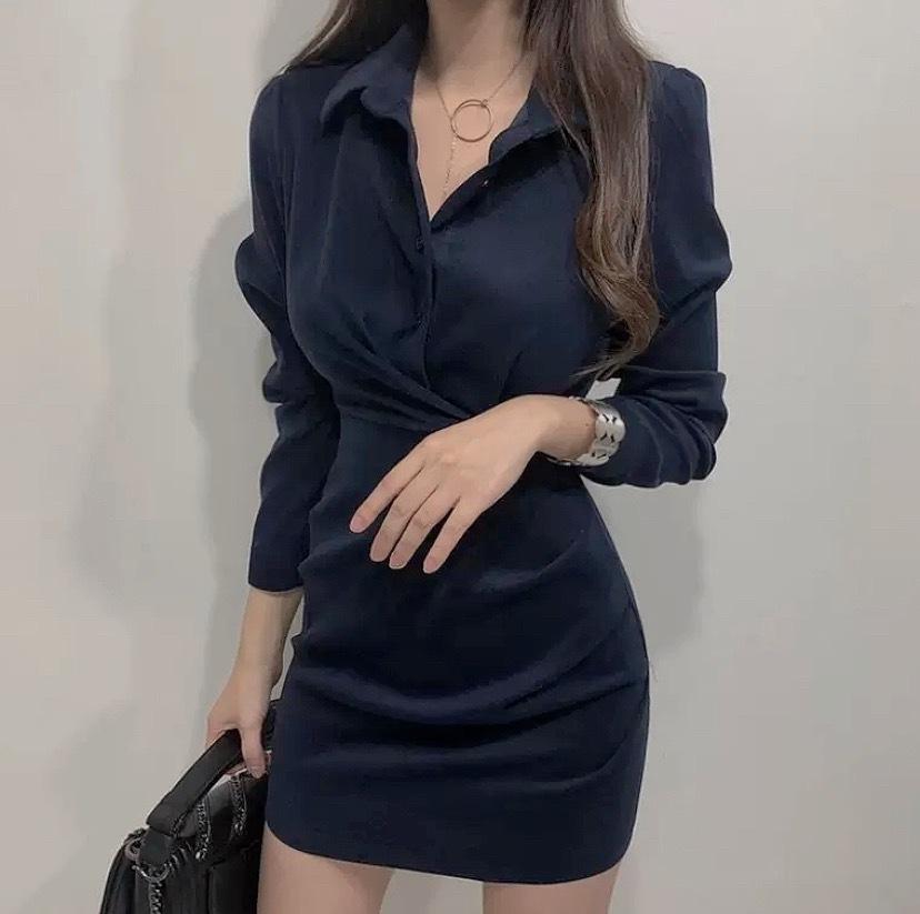 waist mark shirt dress 3color