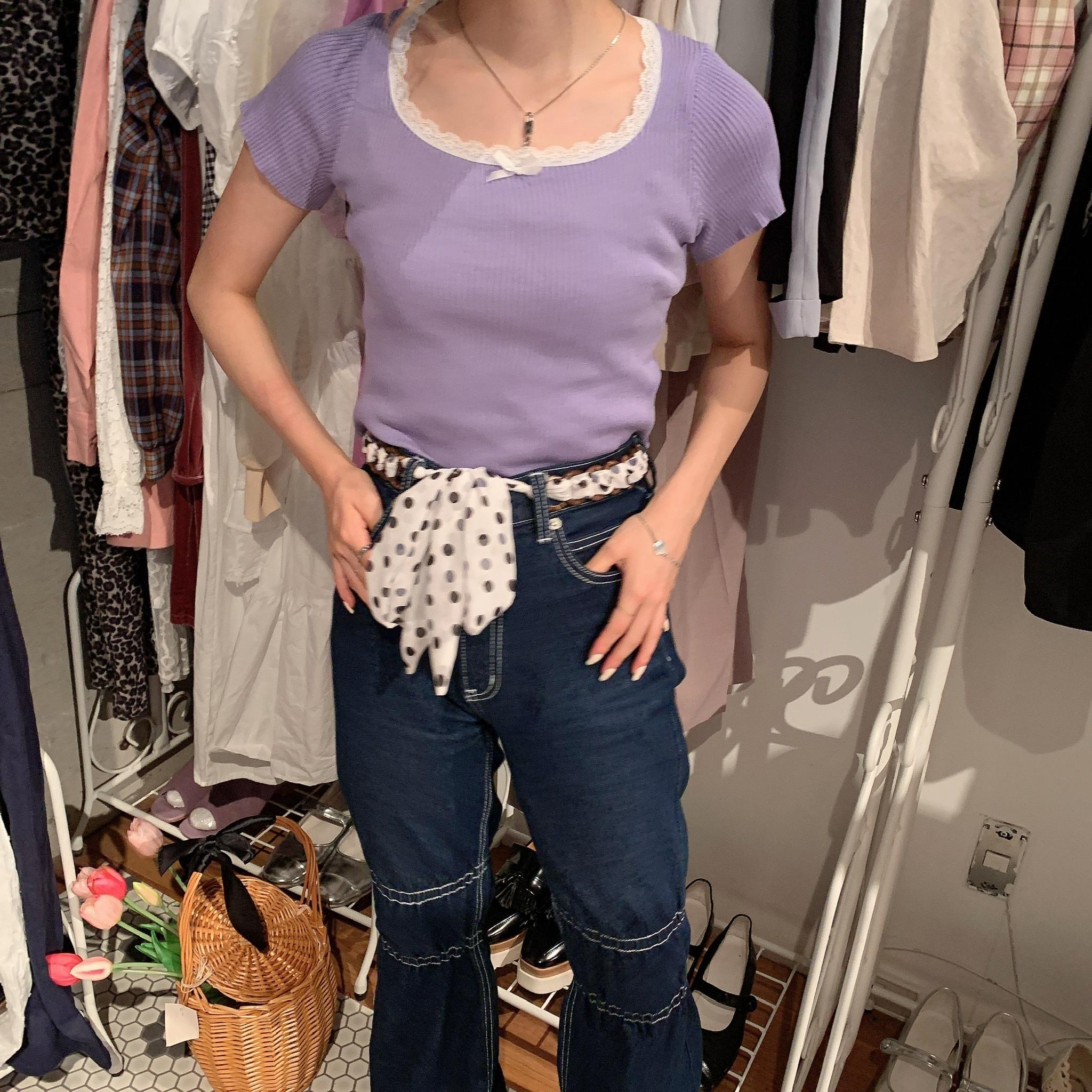 【LAST2】ribbon knit T