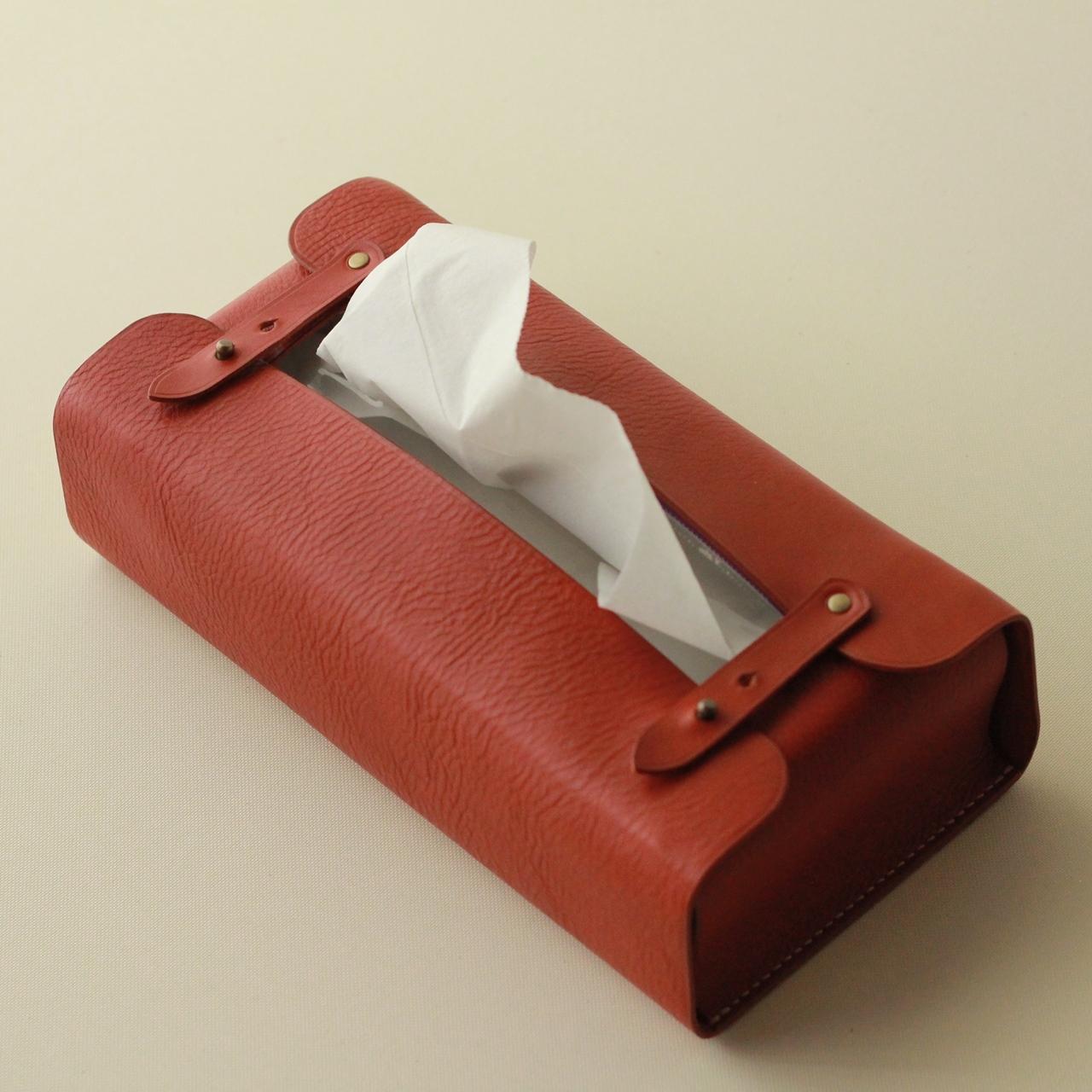 【イタリアンレザーのティッシュボックスカバー】受注製作