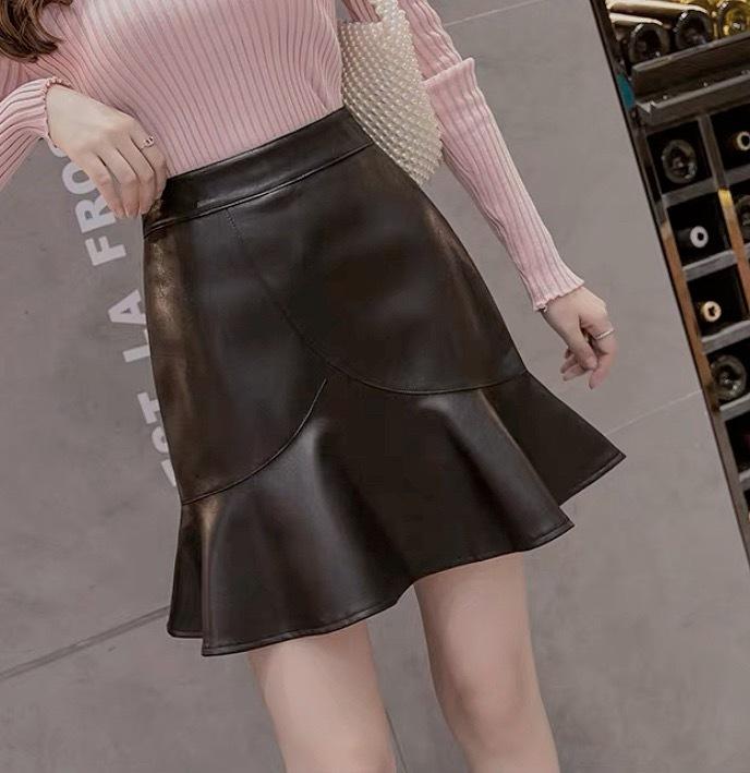 flare pu leather skirt