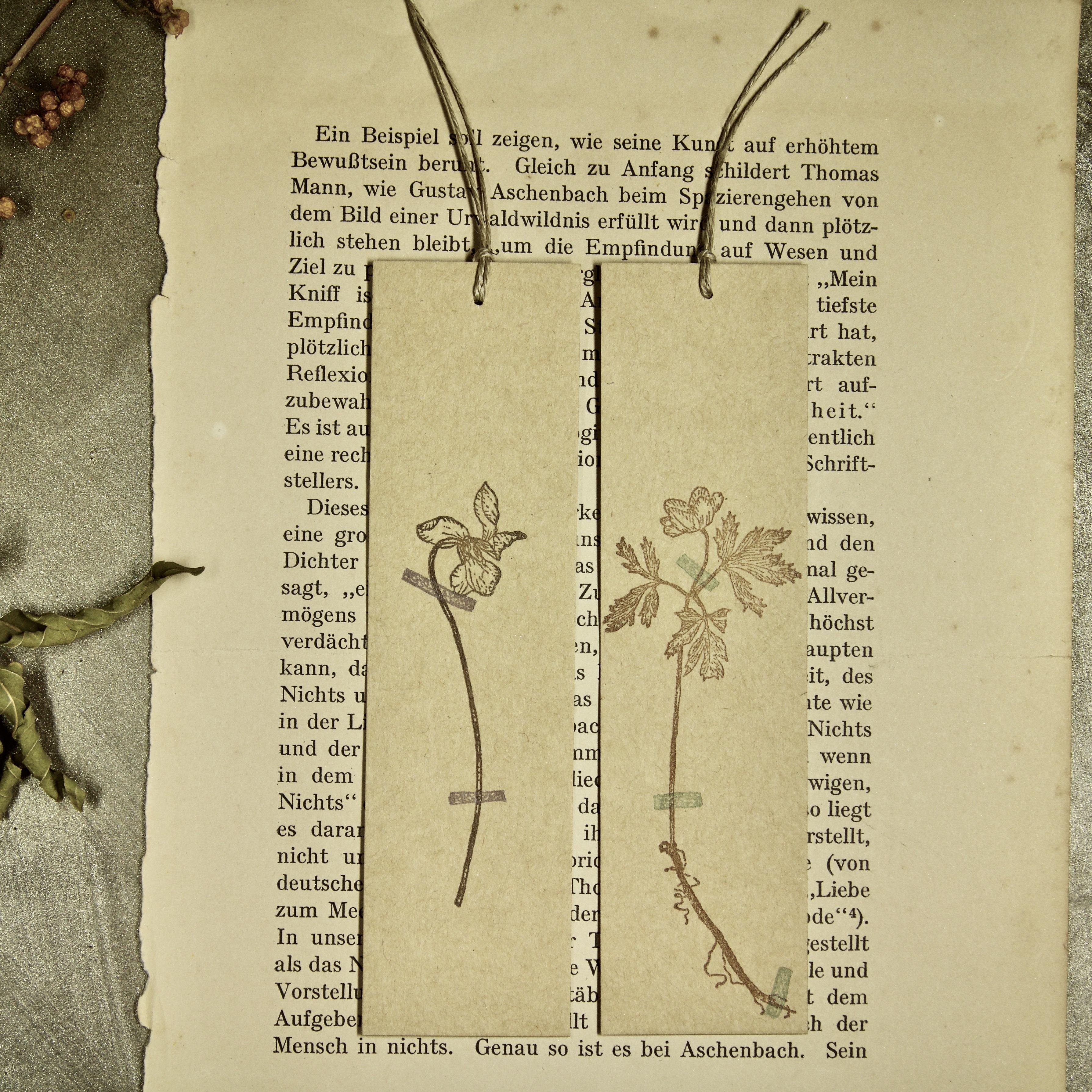 【しおり】押し花スミレ 押し花アネモネ 2枚組/活版印刷