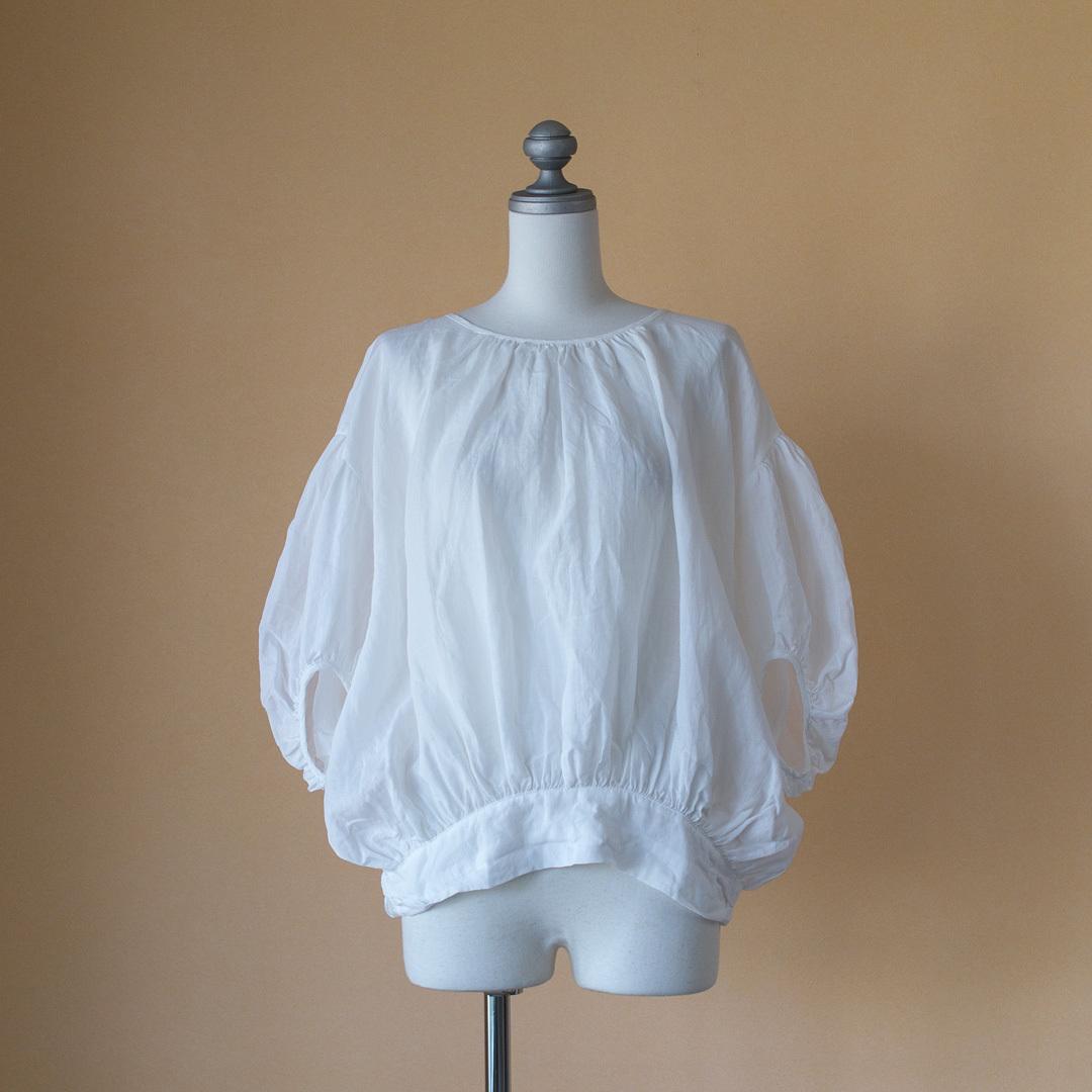 Gauze# ガーゼ G491 ramie linen baloon blouse ラミーリネンバルーンブラウス・ホワイト