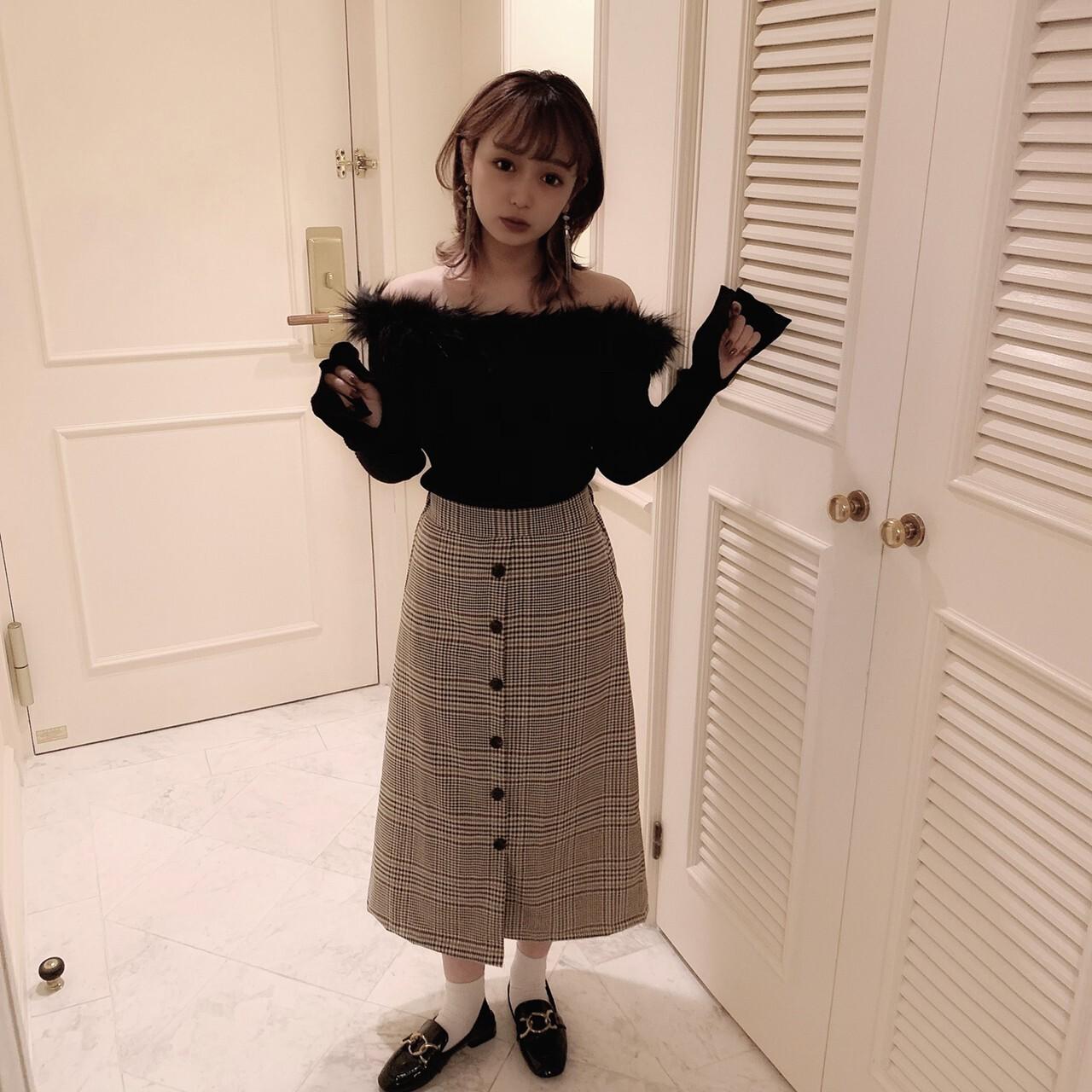 【meltie】rétro check long skirt