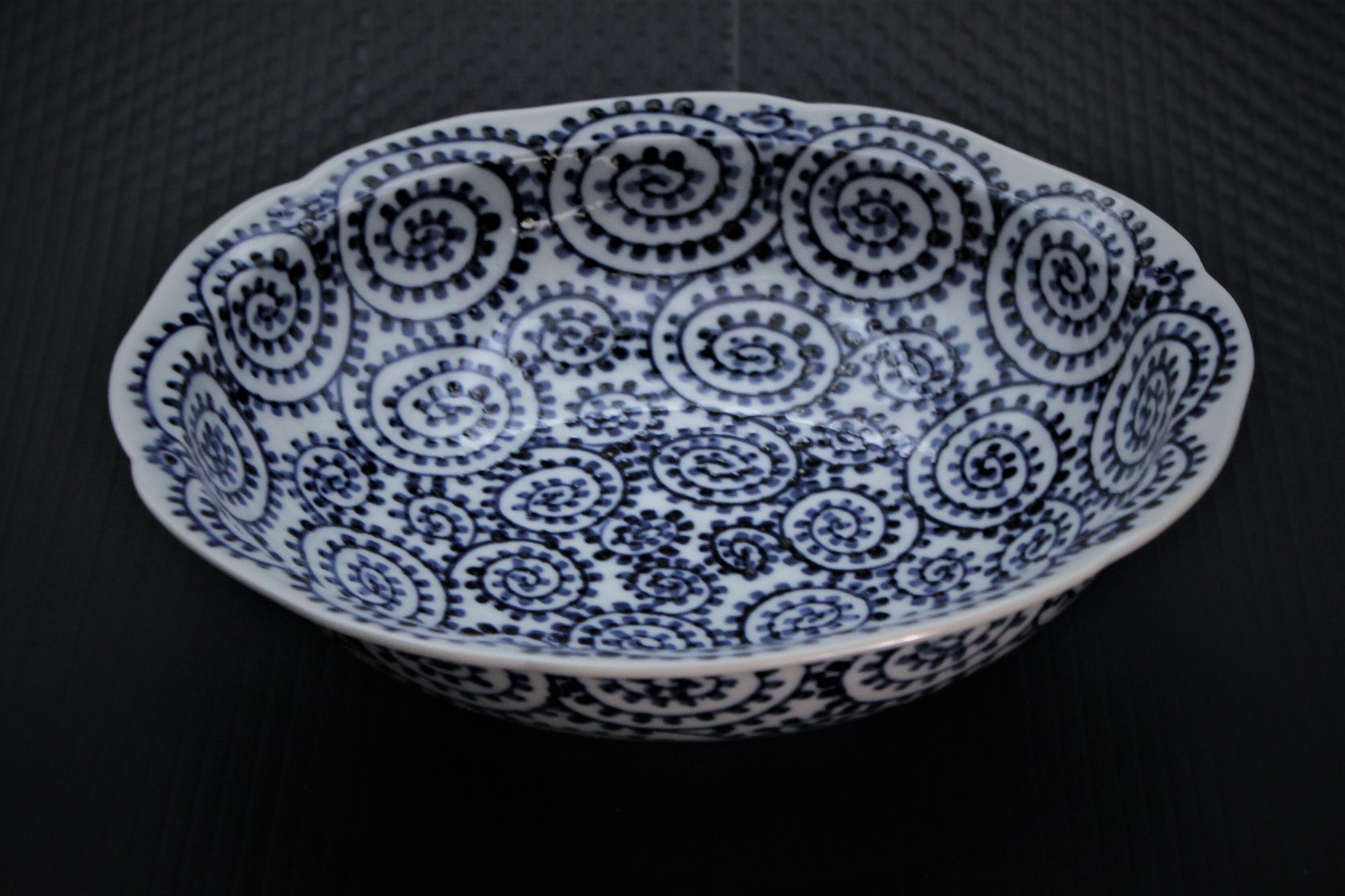 タコ唐草渕切7寸平鉢