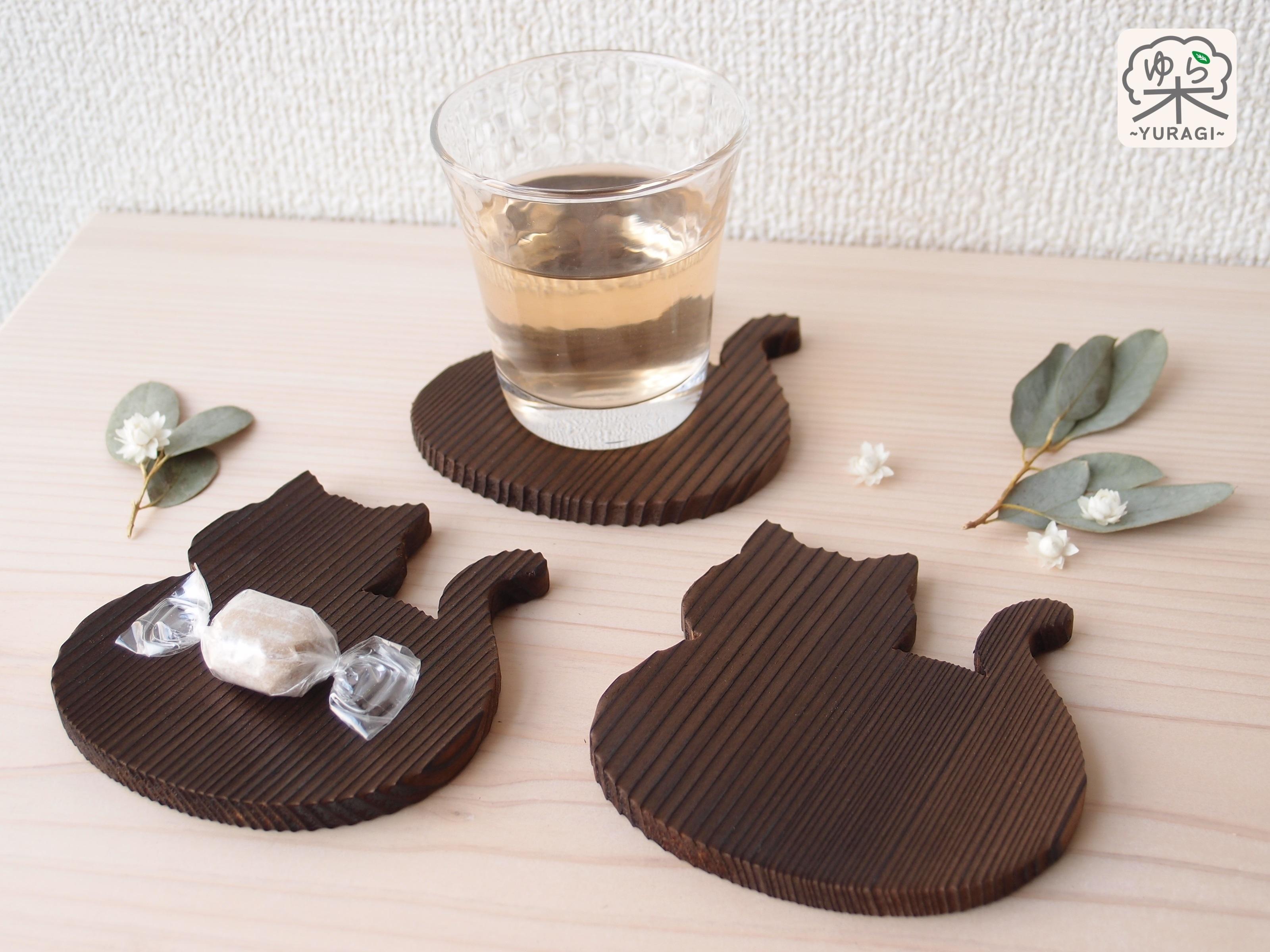 【テーブルの愛猫】まんまるネコ コースター・焼き仕上げ【吸水速乾】