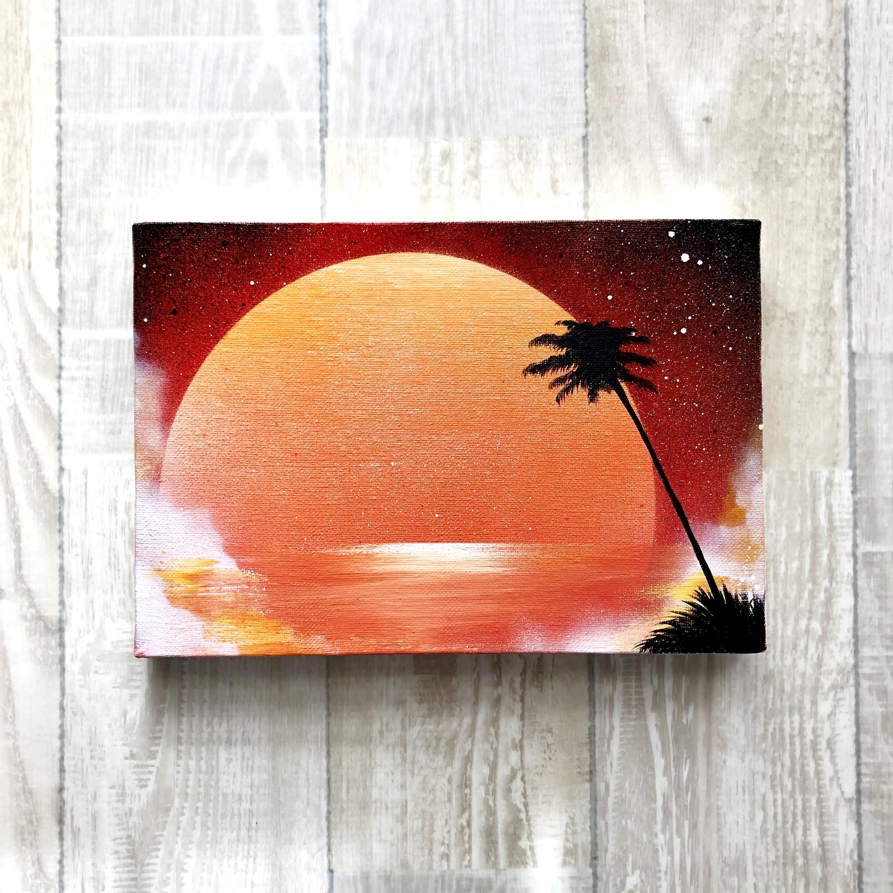 「紅い夕陽」 キャンバスパネル風景画