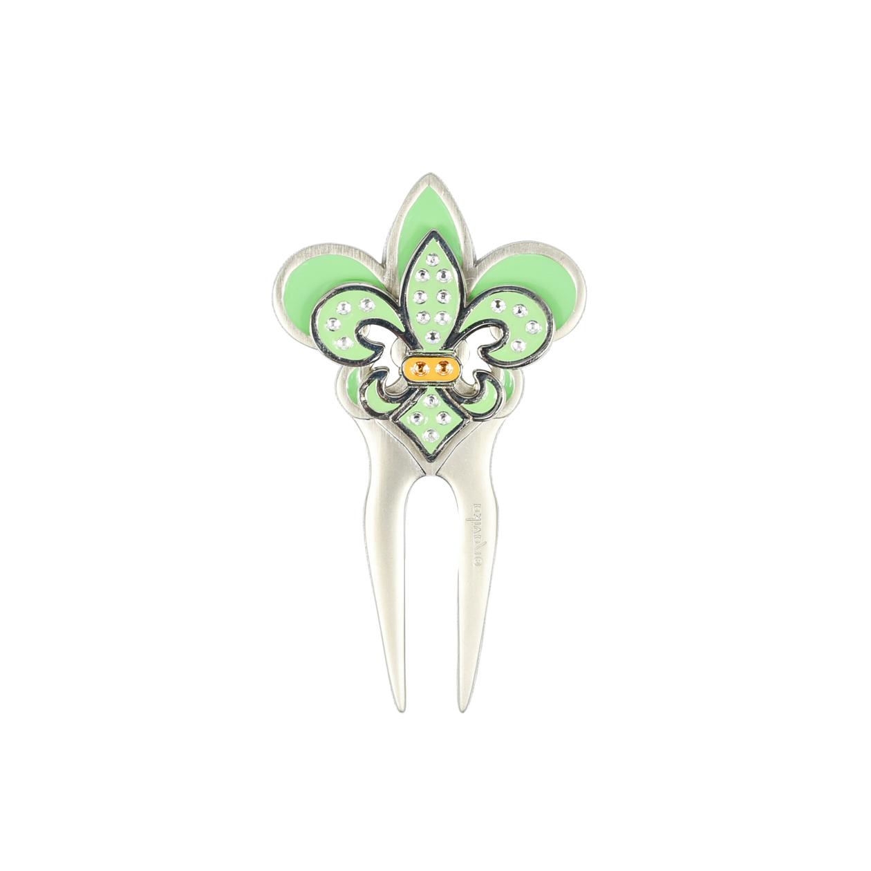 245. Fleur  de Lis Green  Divot Tool & Ball Marker Set
