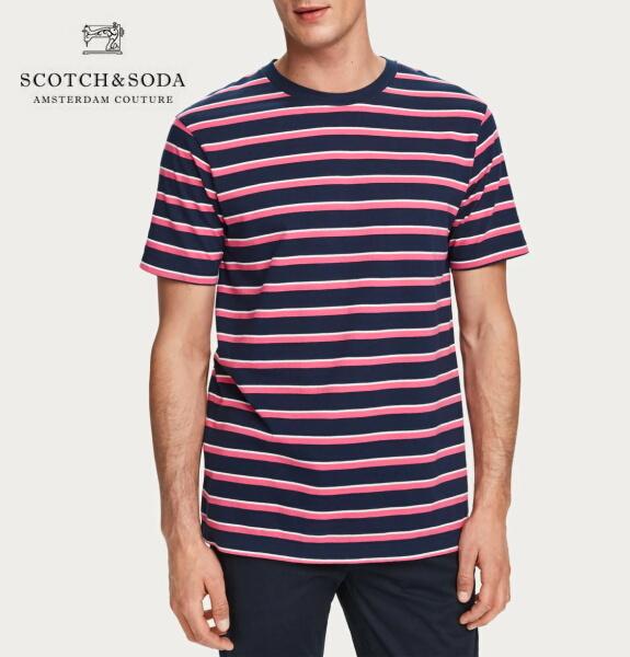 スコッチ&ソーダ SCOTCH&SODA 半袖 Tシャツ クルーネック ボーダー Tシャツ ネイビー×ピンク 292-14408
