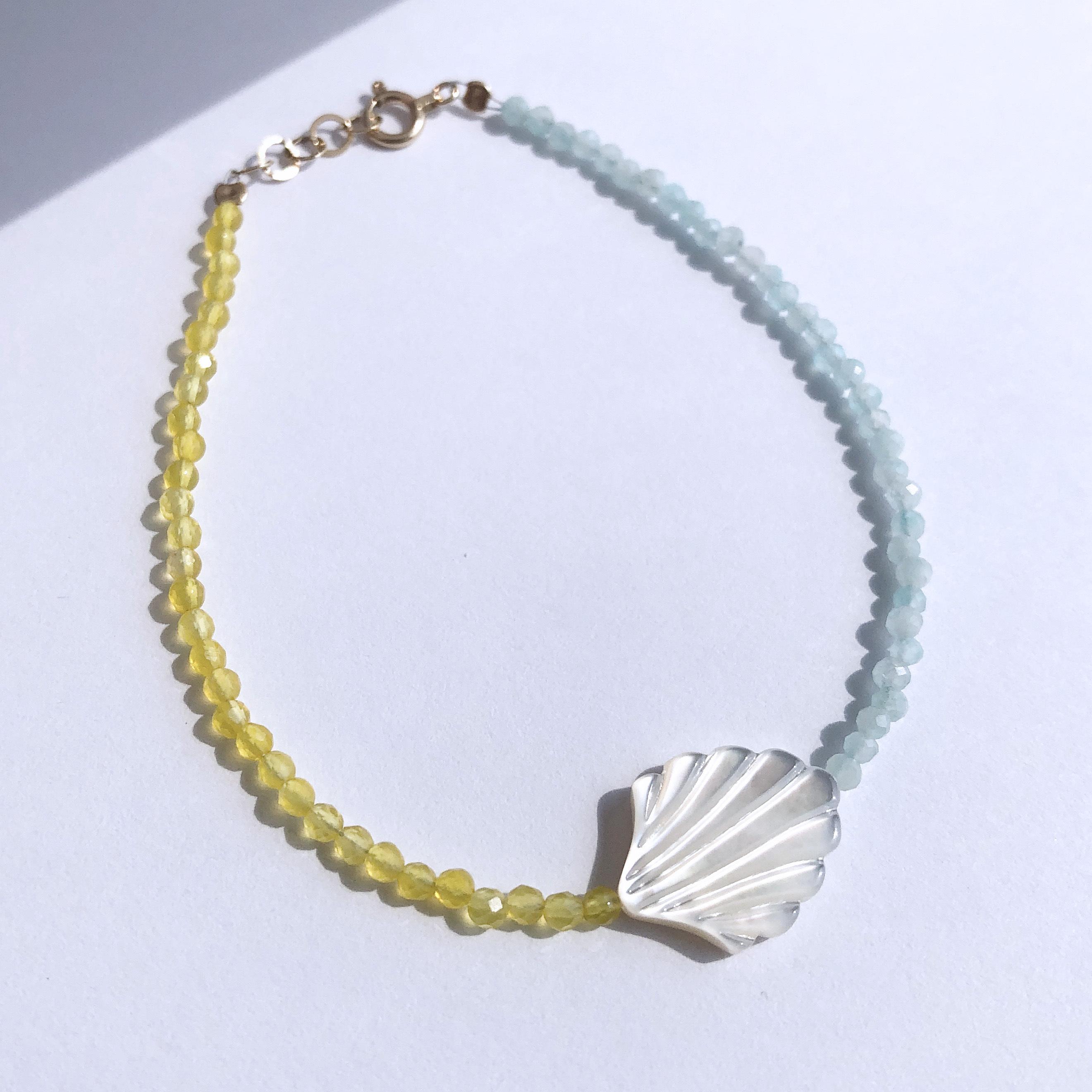 K10YG Mother of Pearl x Agate x Amazonite Bracelet / チャリティージュエリー